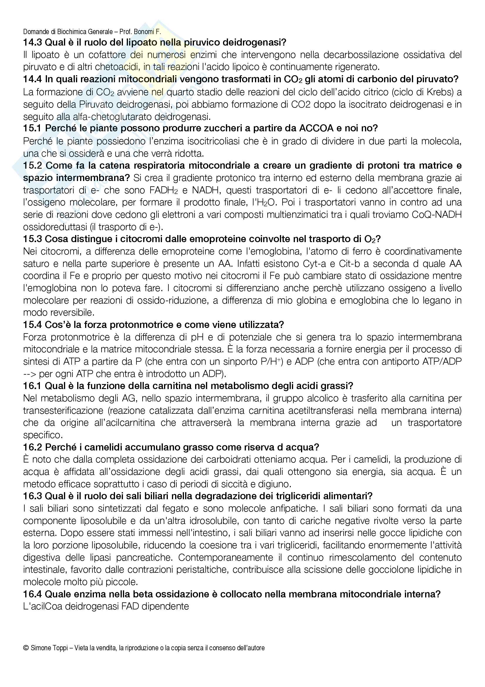 Domande Biochimica Generale e Alimentare (Mod. 1 e 2) Pag. 6