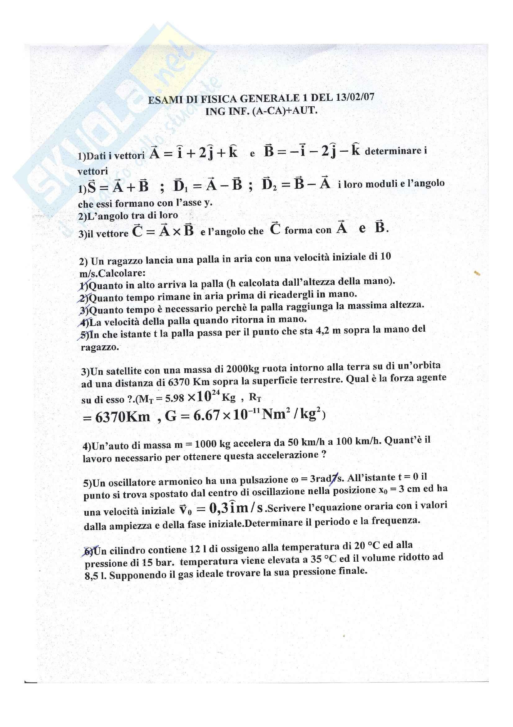 Fisica generale 1 - Prova d'esame del 13/02/07