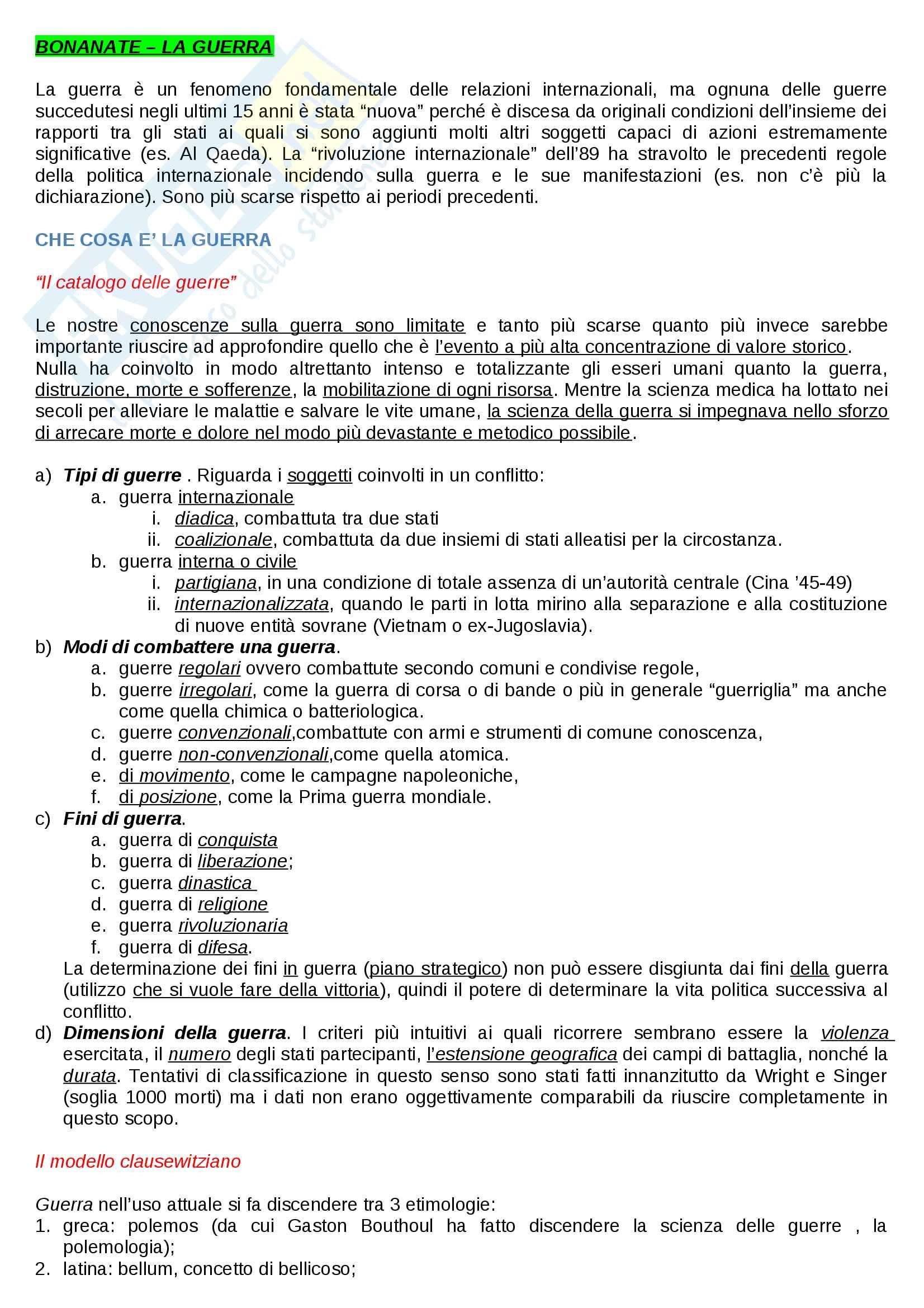 Riassunto esame Storia della guerra, docente Minniti, libro consigliato La guerra, Luigi Bonanate