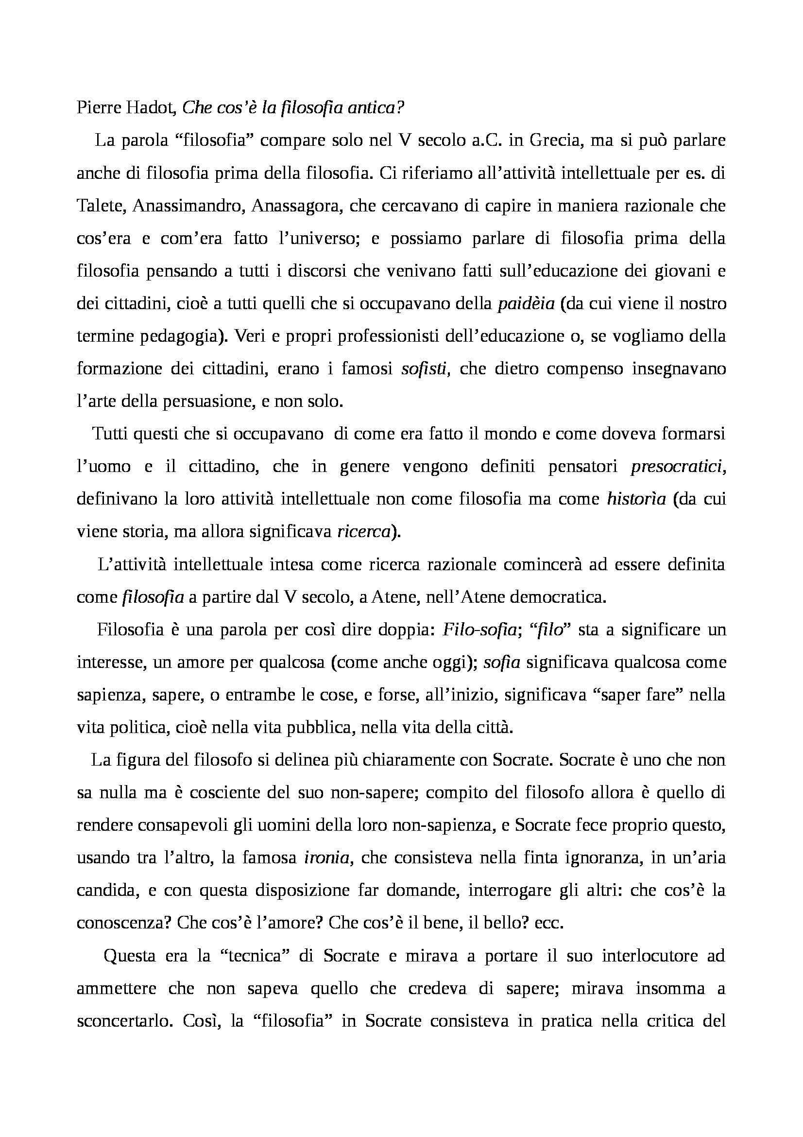 Che cos'è la filosofia antica?, Pierre Hadot - Appunti