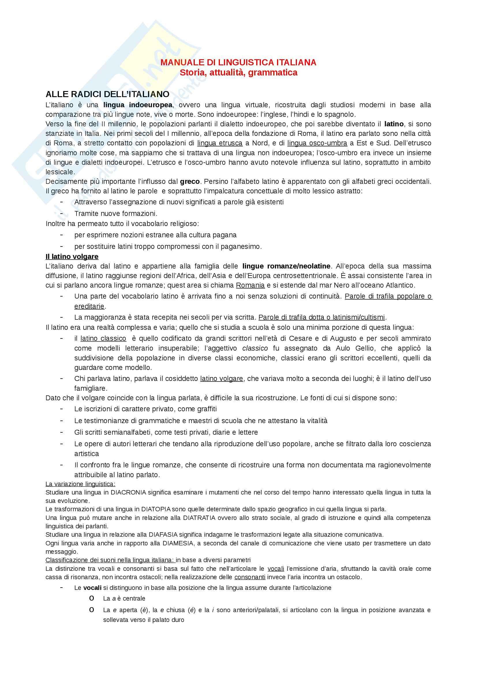 Riassunto esame Storia della lingua italiana, prof Venier, libro consigliato Manuale di linguistica italiana
