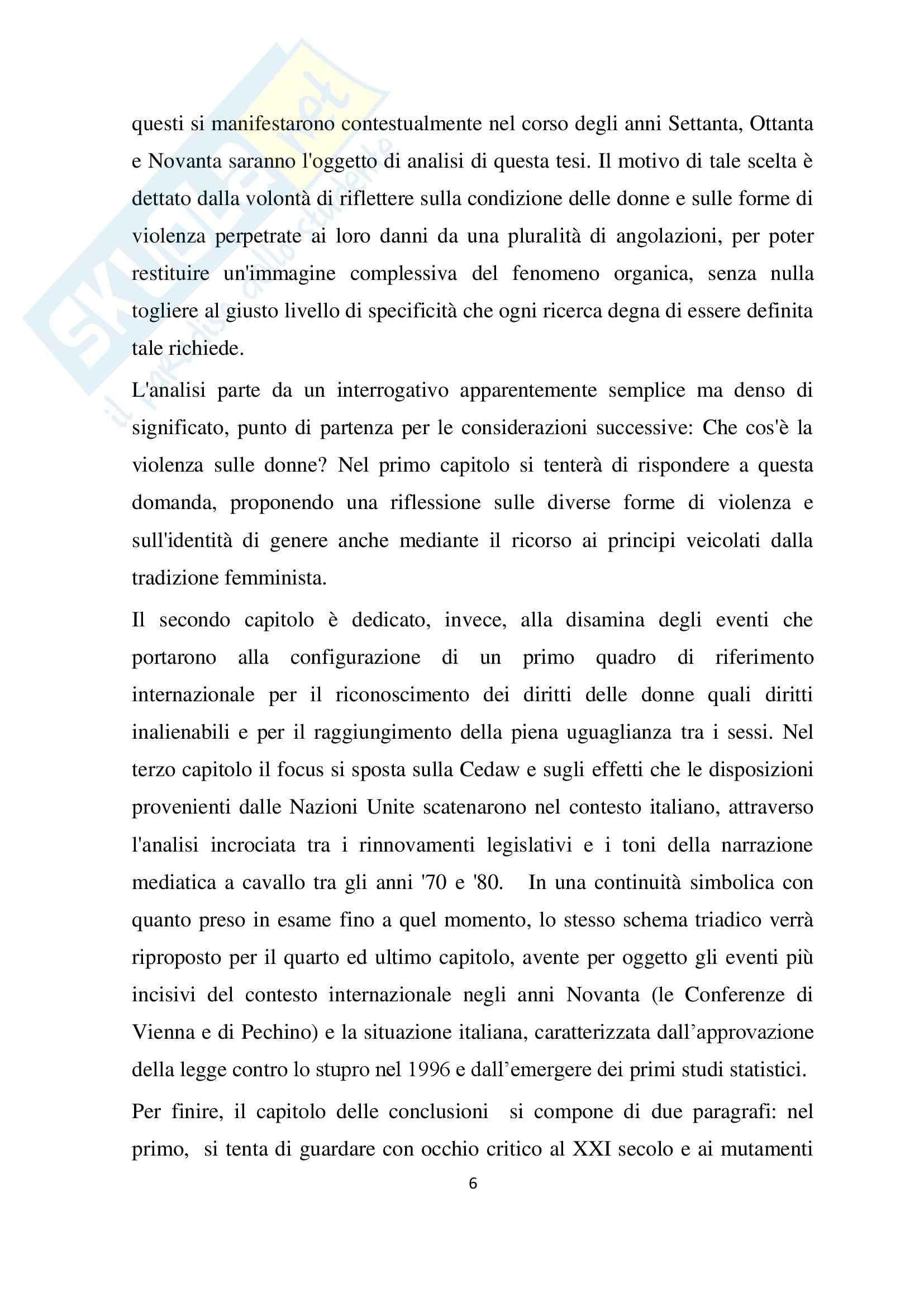 Tesi, violenza contro le donne: un fenomeno multiforme. Il dibattito internazionale sui diritti umani, le trasformazioni del quadro giuridico italiano e il ruolo della stampa Pag. 6