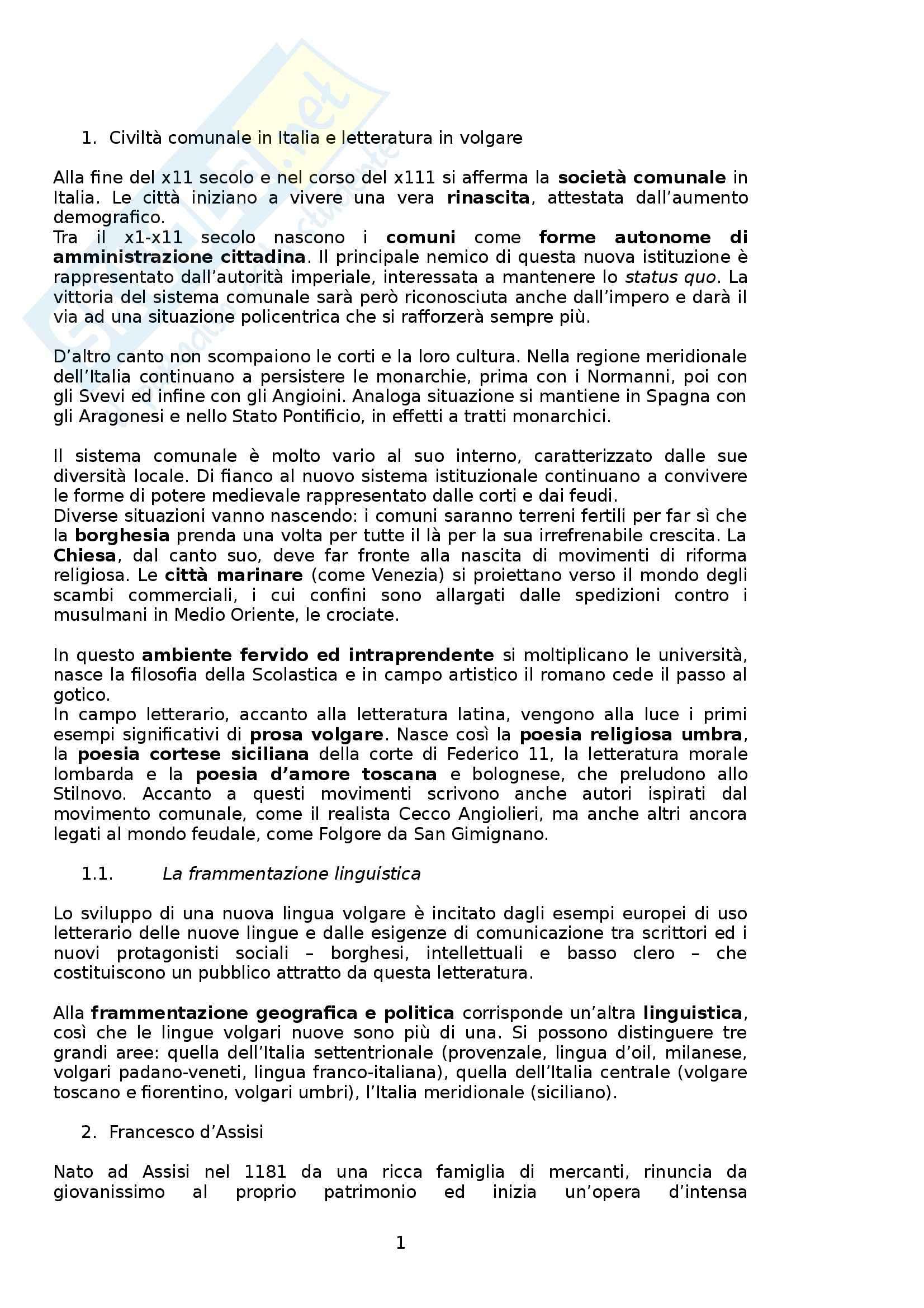 Riassunto esame Letteratura Italiana, prof. Boggione, libro consigliato Storia e Antologia della Letteratura, Barberi Squarotti