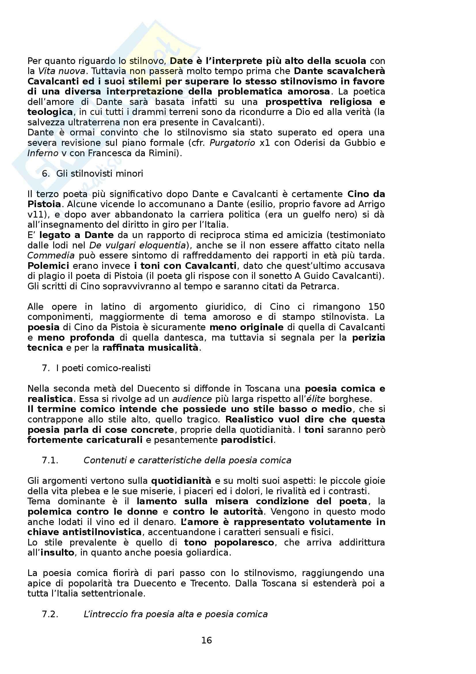 Riassunto esame Letteratura Italiana, prof. Boggione, libro consigliato Storia e Antologia della Letteratura, Barberi Squarotti Pag. 16