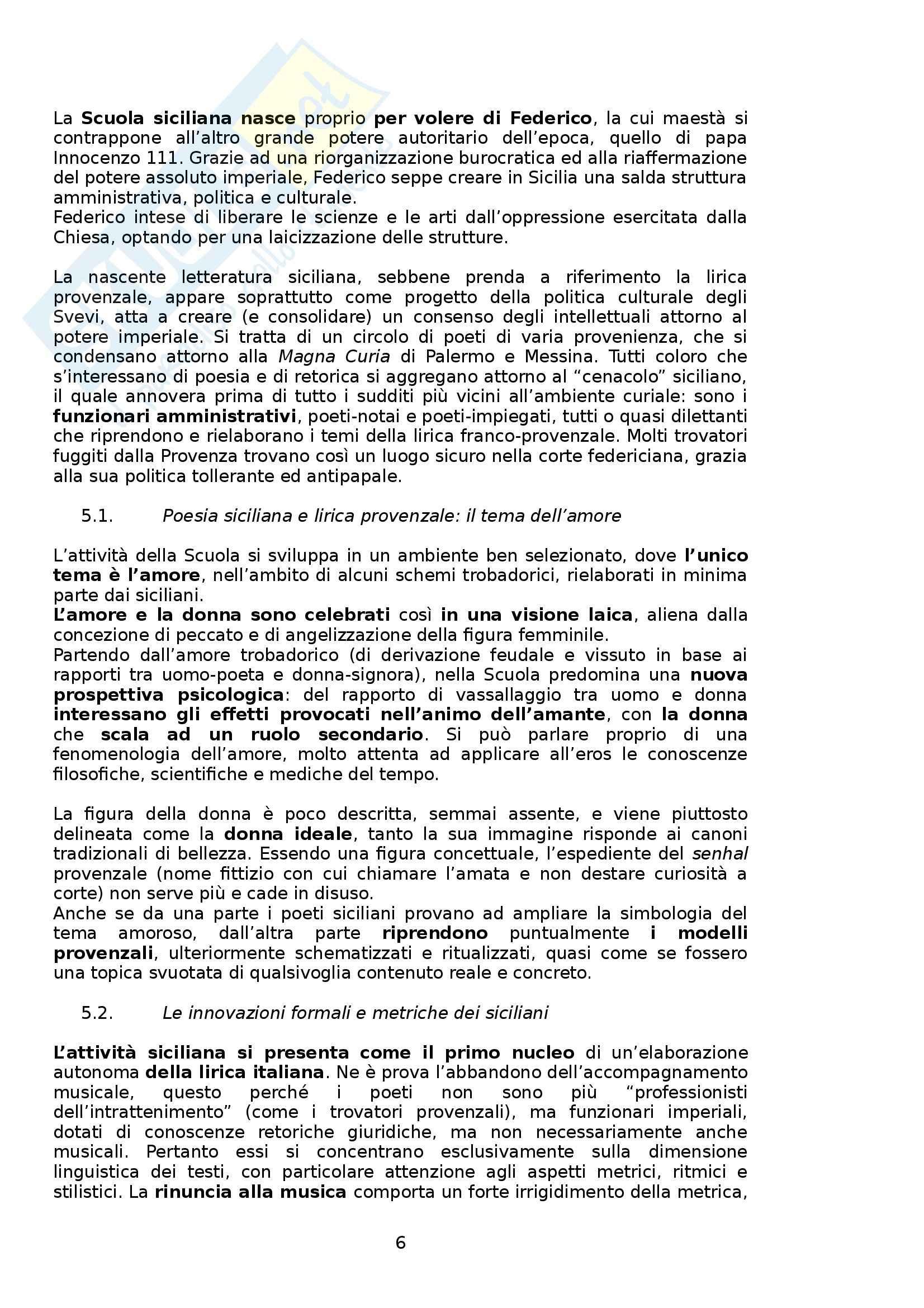 Riassunto esame Letteratura Italiana, prof. Boggione, libro consigliato Storia e Antologia della Letteratura, Barberi Squarotti Pag. 6