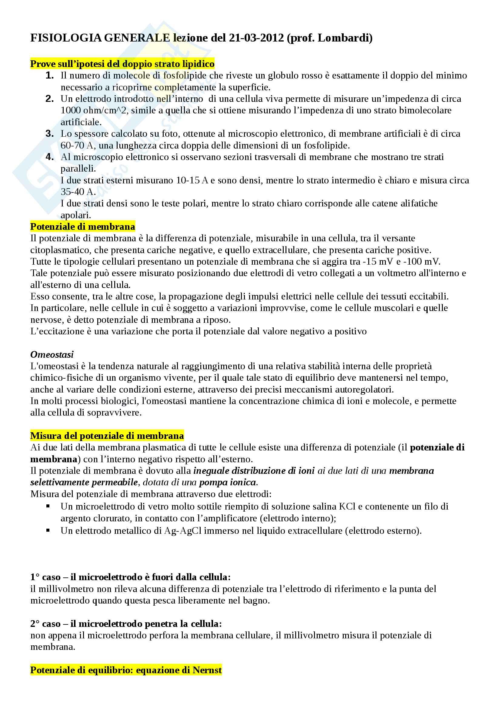 Fisiologia generale, lezione 02