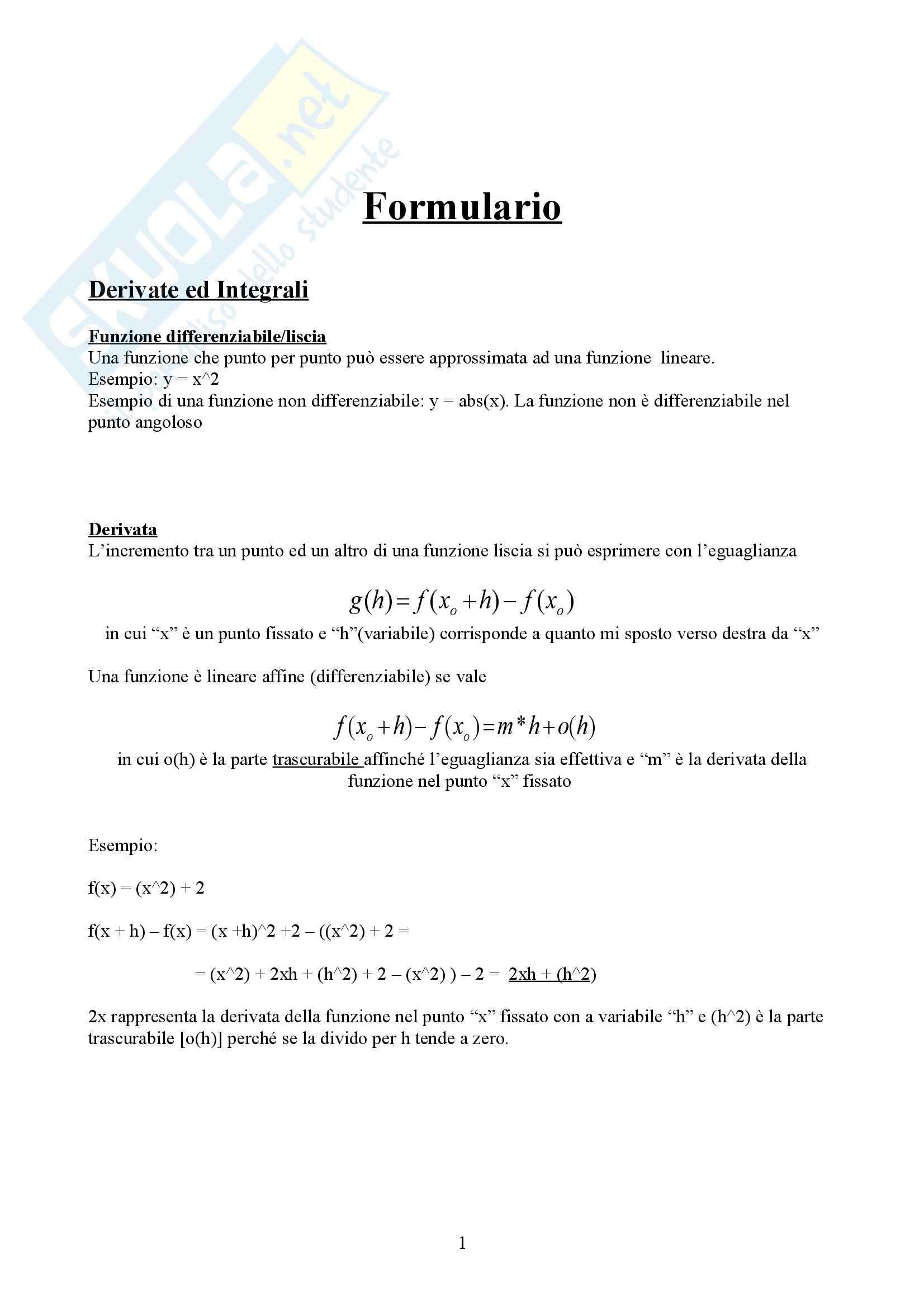 Formulario metodi quantitativi