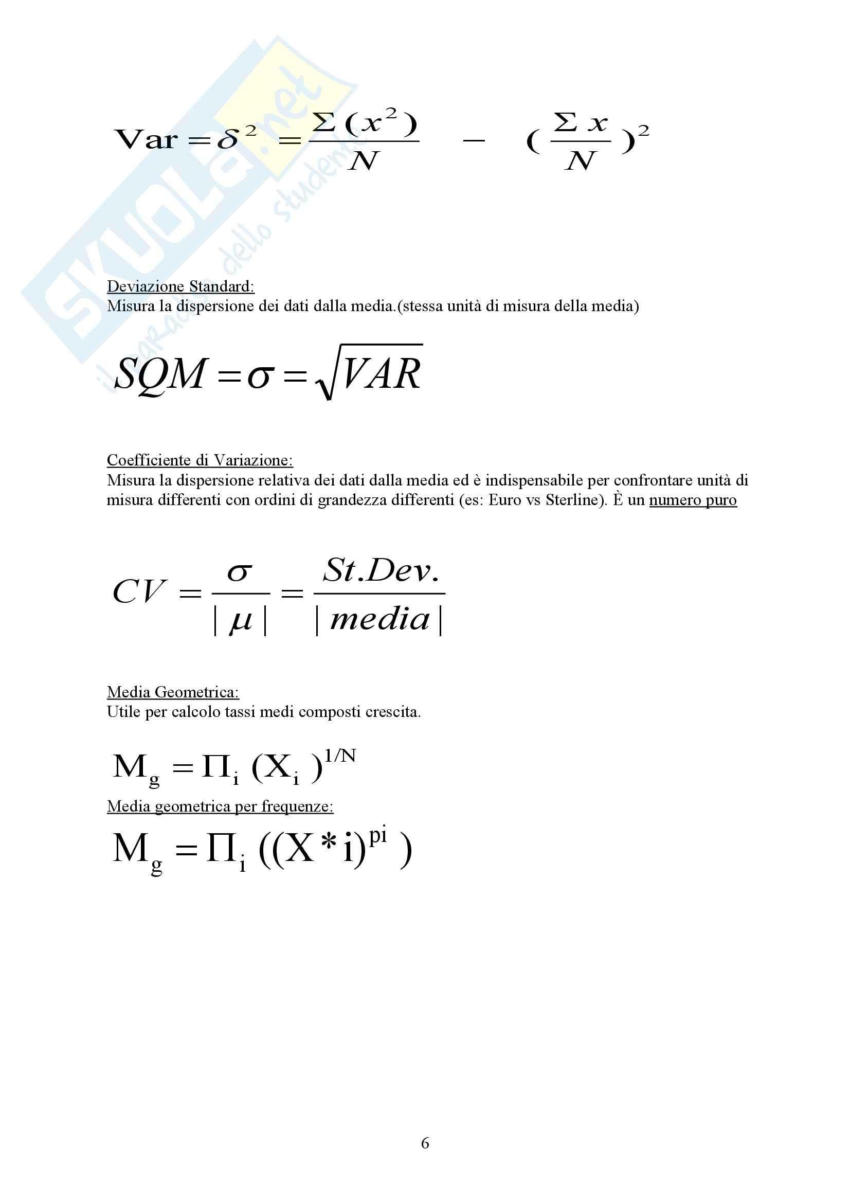 Formulario metodi quantitativi Pag. 6