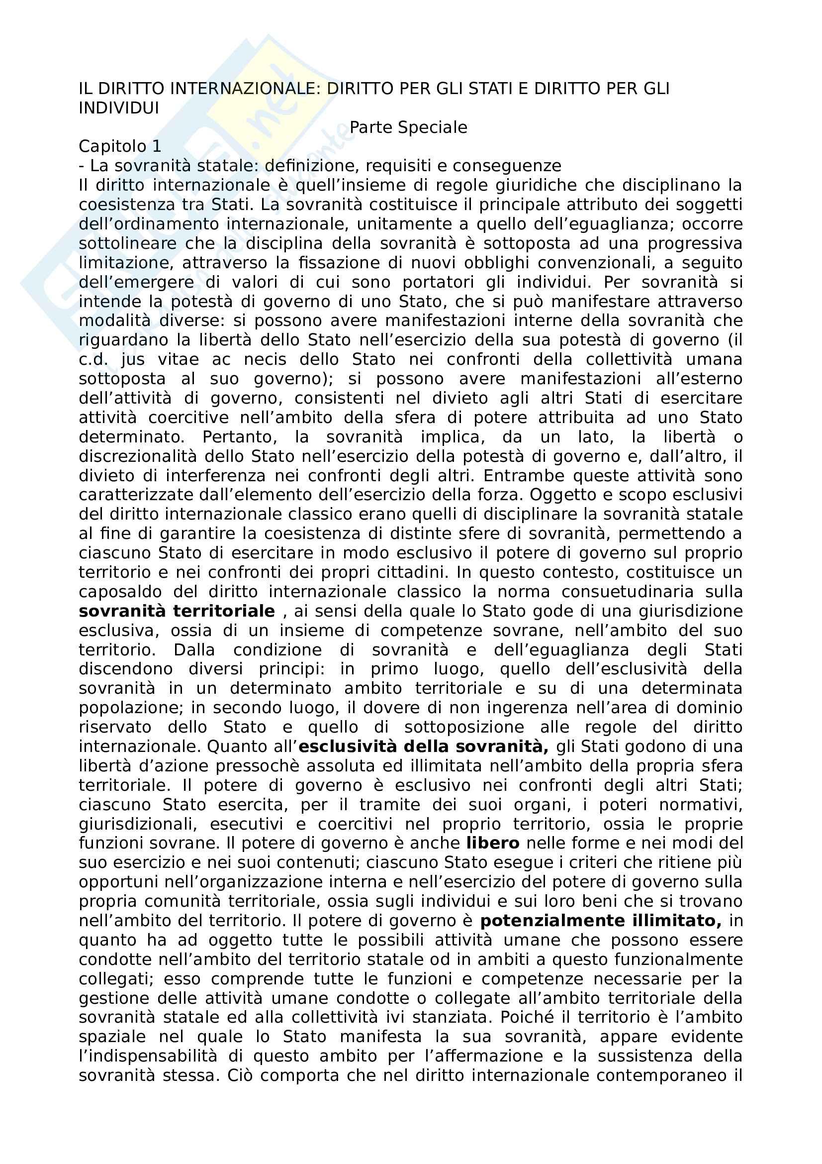 Riassunto esame Diritto Internazionale, prof Vassalli, libro consigliato: Il diritto internazionale: diritto per gli Stati e diritto per gli individui. Parti speciali