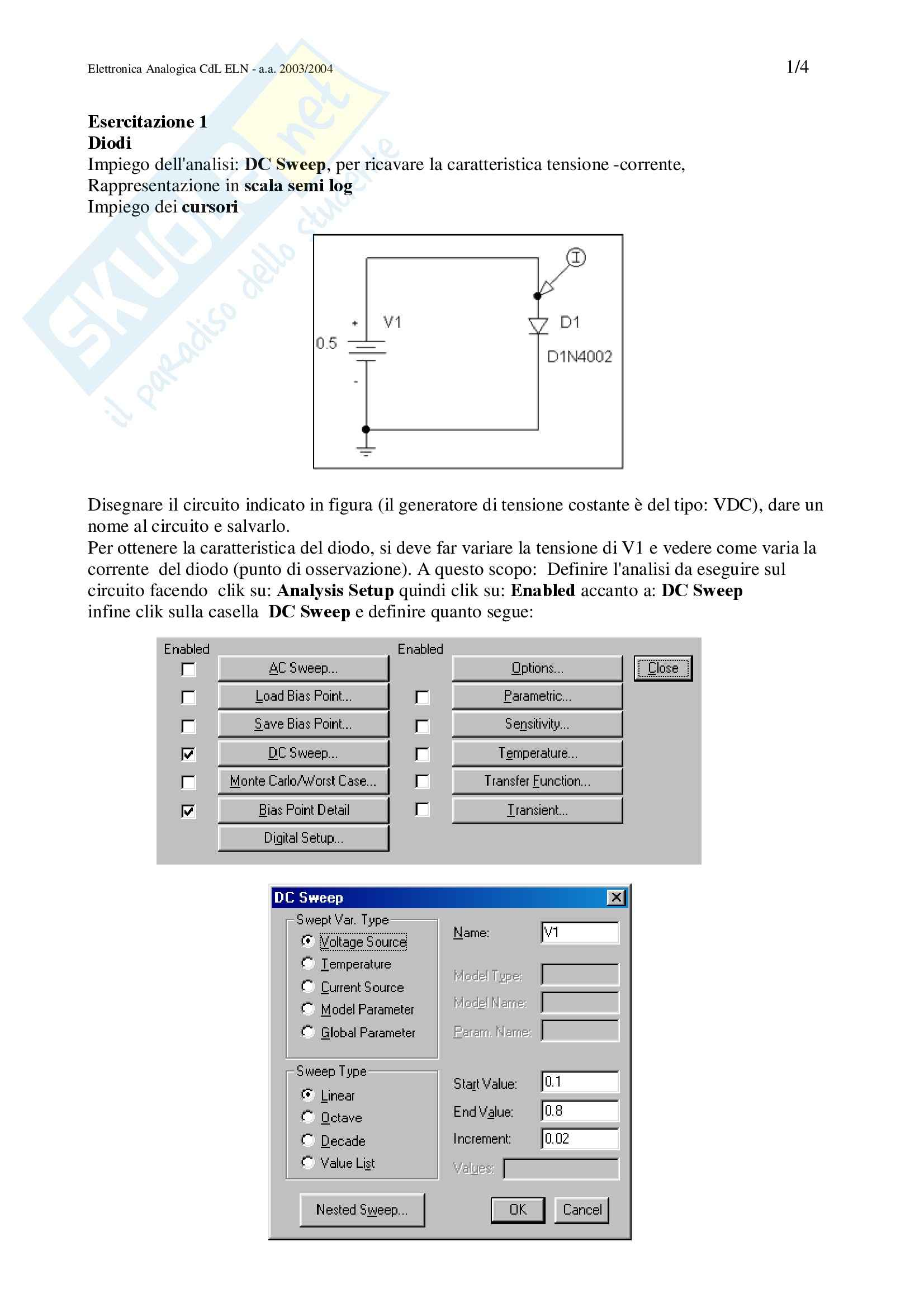 Elettronica analogica - Esercitazione