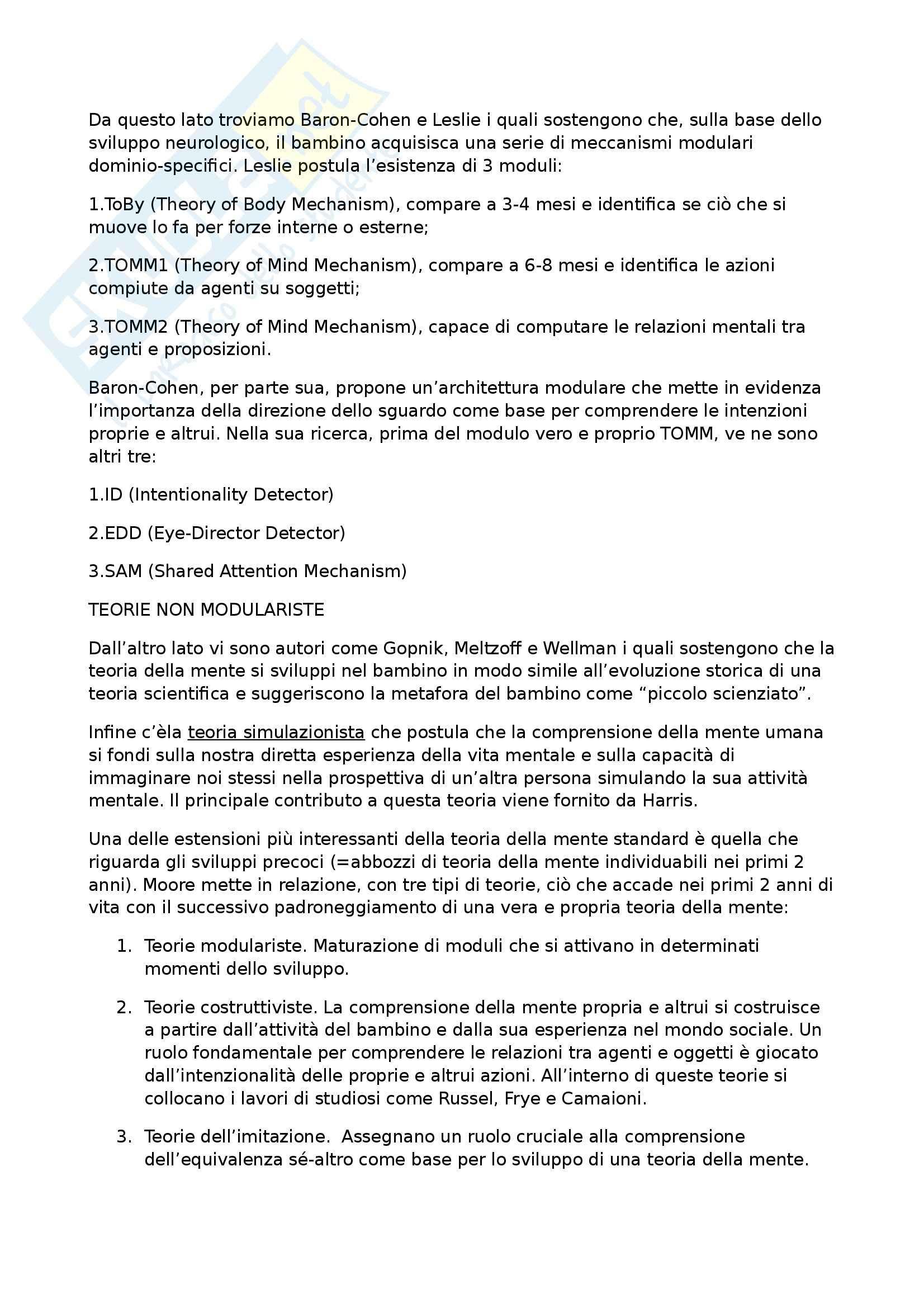Riassunto esame Psicologia Generale, prof. Bosco, libro consigliato La Teoria della Mente, Camaioni Pag. 2