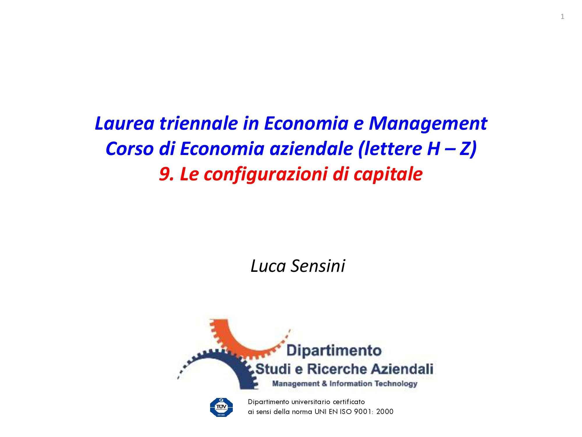 Dispensa di Economia aziendale - Configurazioni di capitale