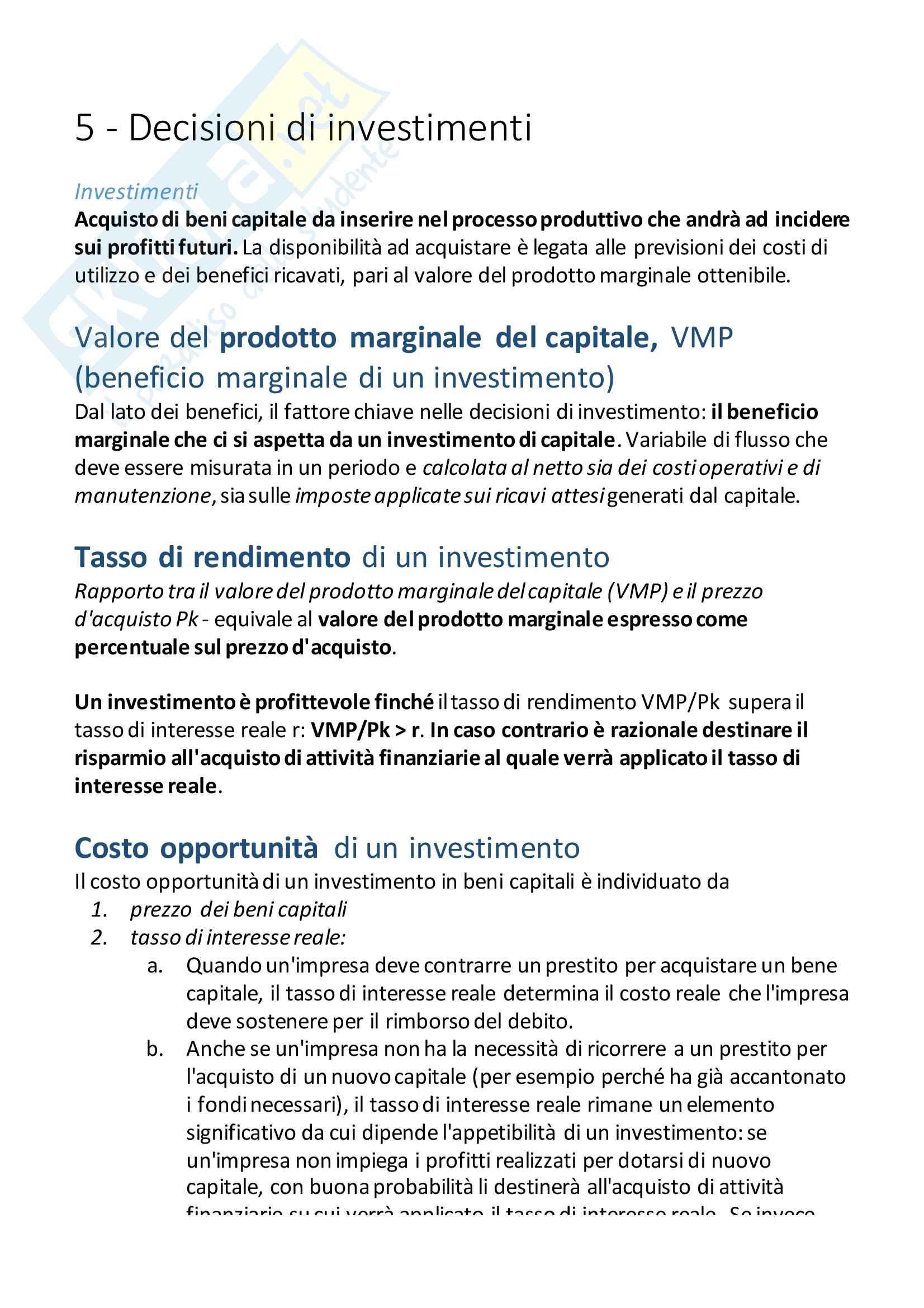Appunti:5 - Decisioni di investimenti. Esame di Economia Politica, M. Grillo
