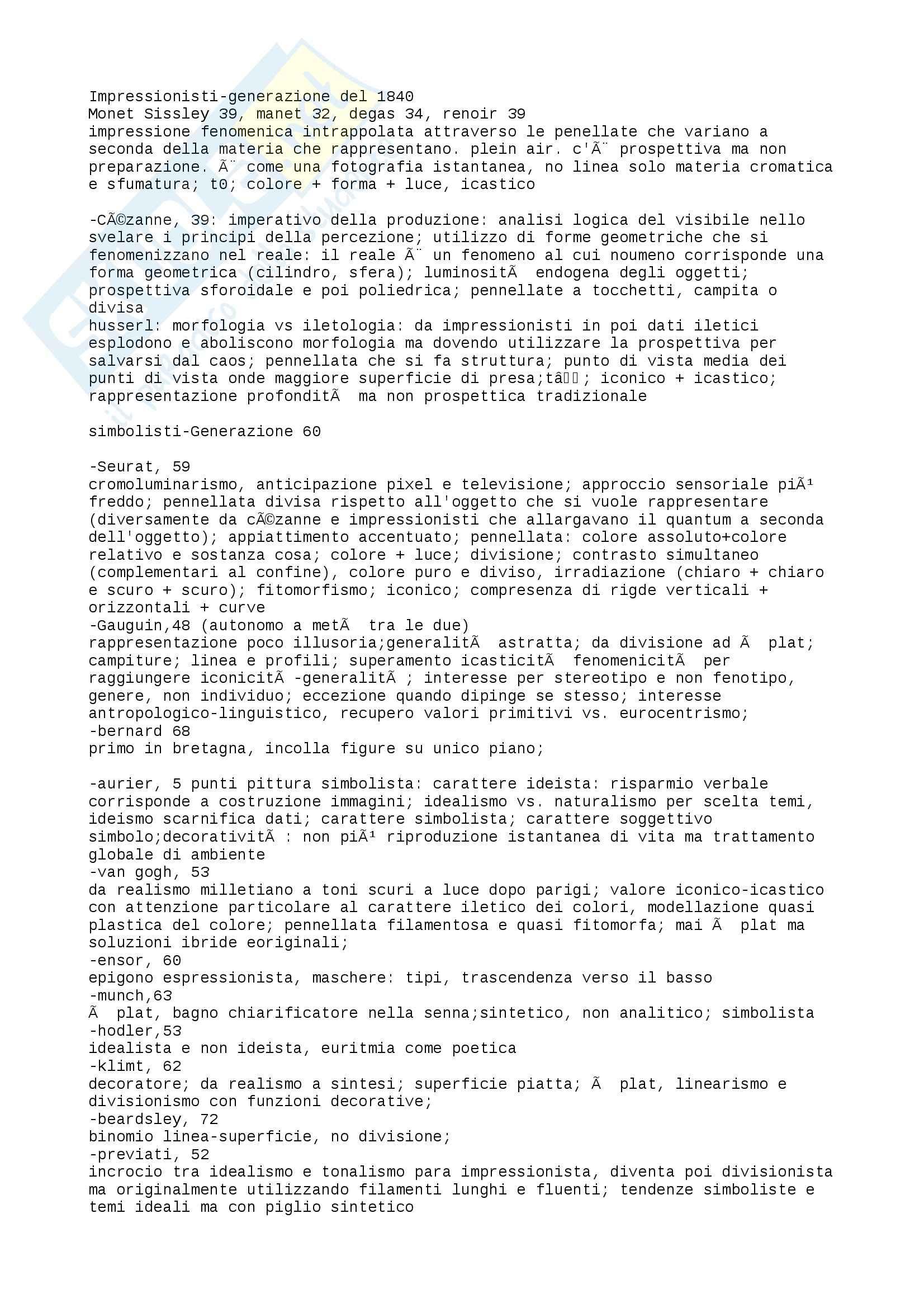 Riassunto esame Storia dell'Arte Contemporanea, prof. Bartorelli, libro consigliato Da Cèzanne alle Ultime Tendenze, Barilli