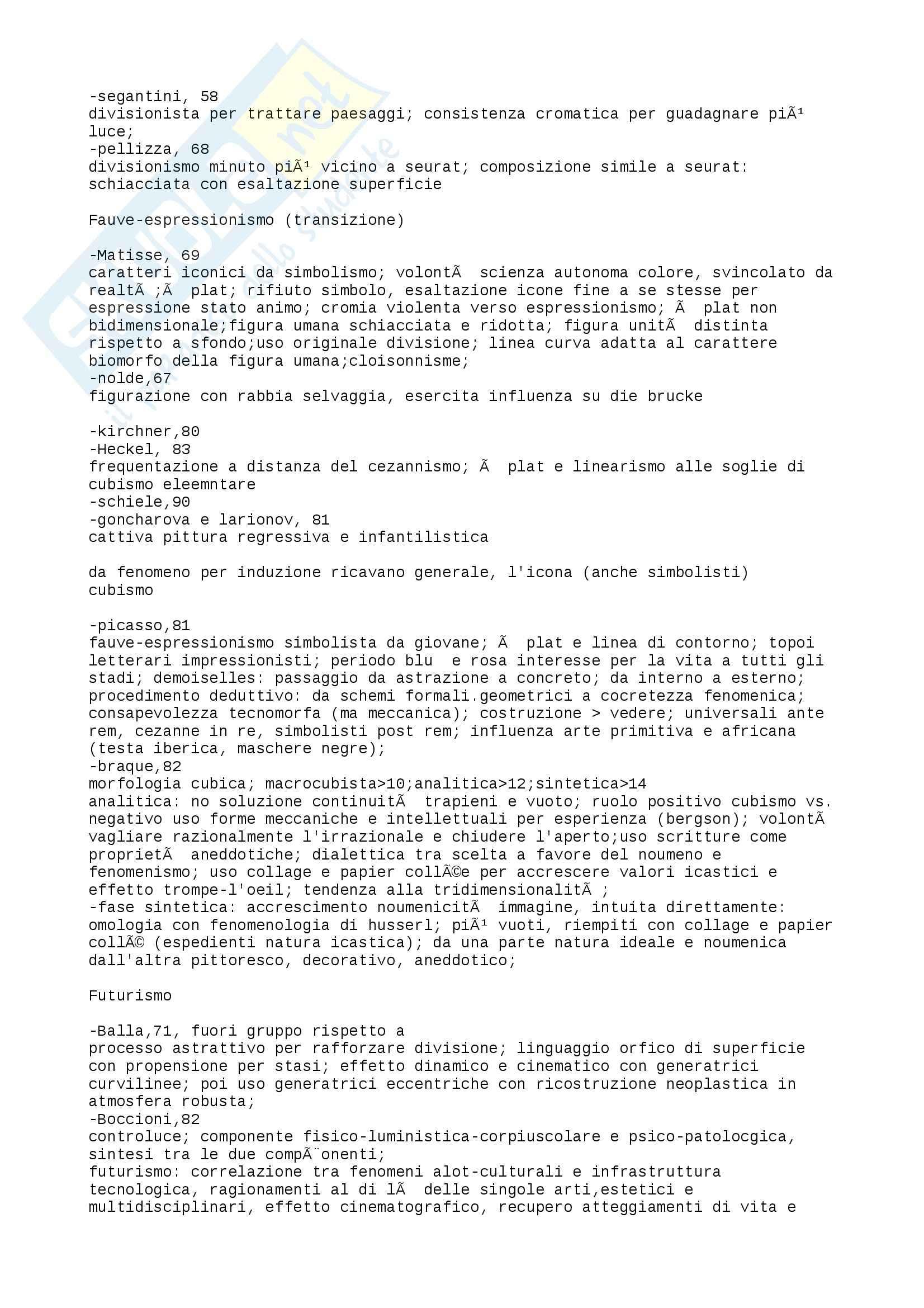 Riassunto esame Storia dell'Arte Contemporanea, prof. Bartorelli, libro consigliato Da Cèzanne alle Ultime Tendenze, Barilli Pag. 2
