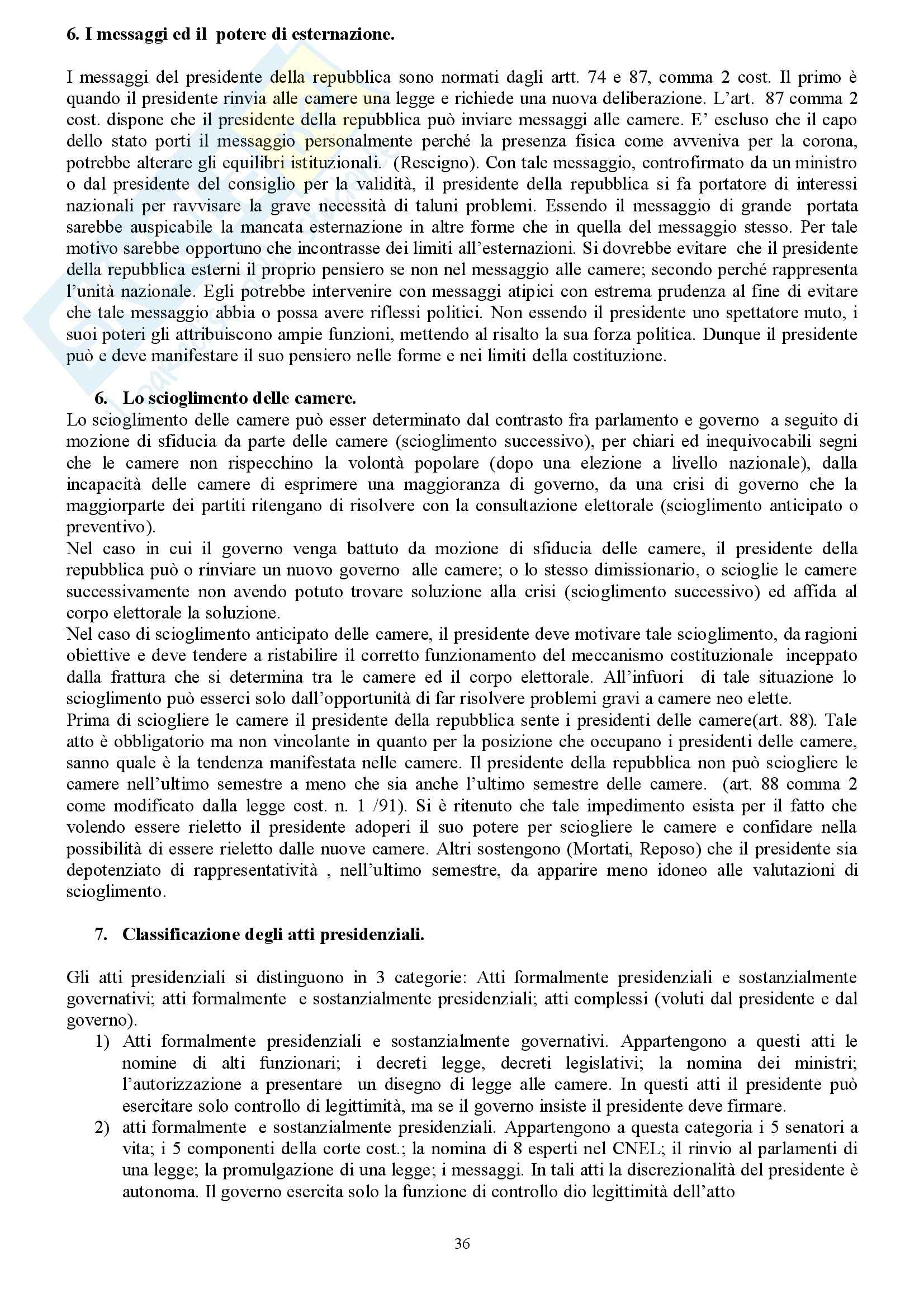 Riassunto esame Diritto Costituzionale, prof. indefinito, libro consigliato Diritto Costituzionale, Martines Pag. 36