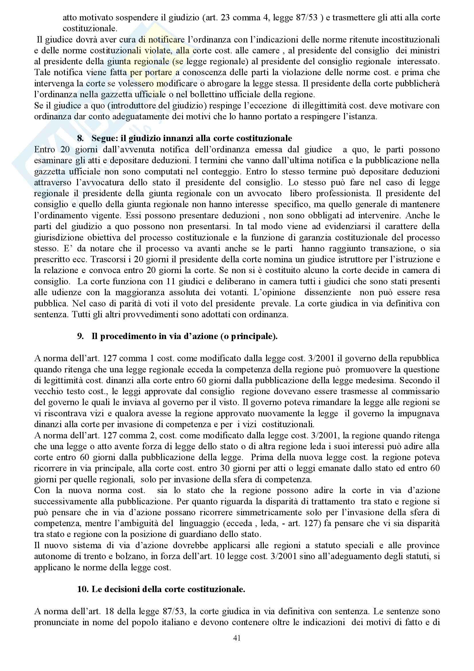 Riassunto esame Diritto Costituzionale, prof. indefinito, libro consigliato Diritto Costituzionale, Martines Pag. 41