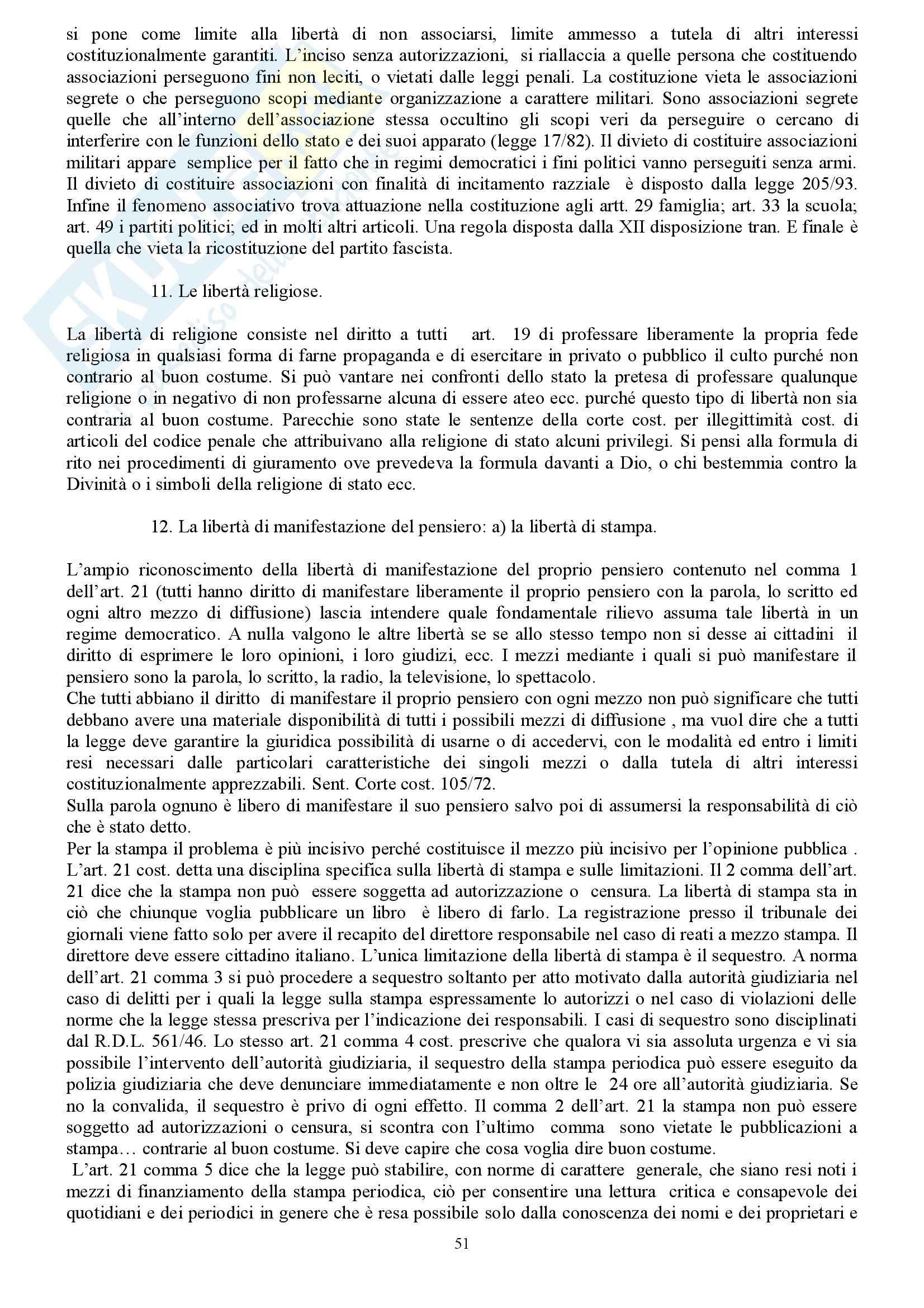 Riassunto esame Diritto Costituzionale, prof. indefinito, libro consigliato Diritto Costituzionale, Martines Pag. 51