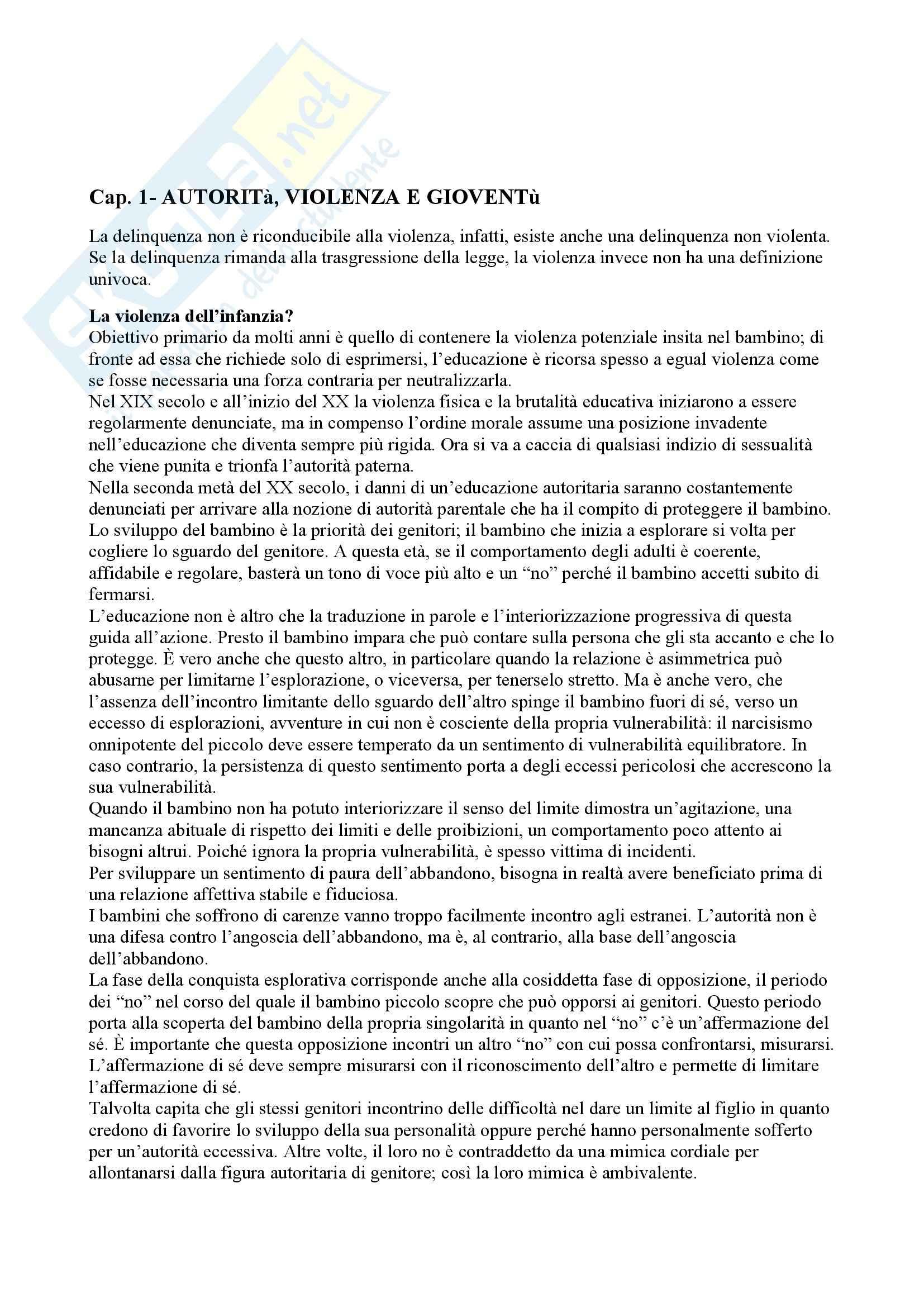 Riassunto esame Pedagogia dello sviluppo e della comunicazione, prof. Aglieri, libro consigliato Il bambino sovrano, Cortina