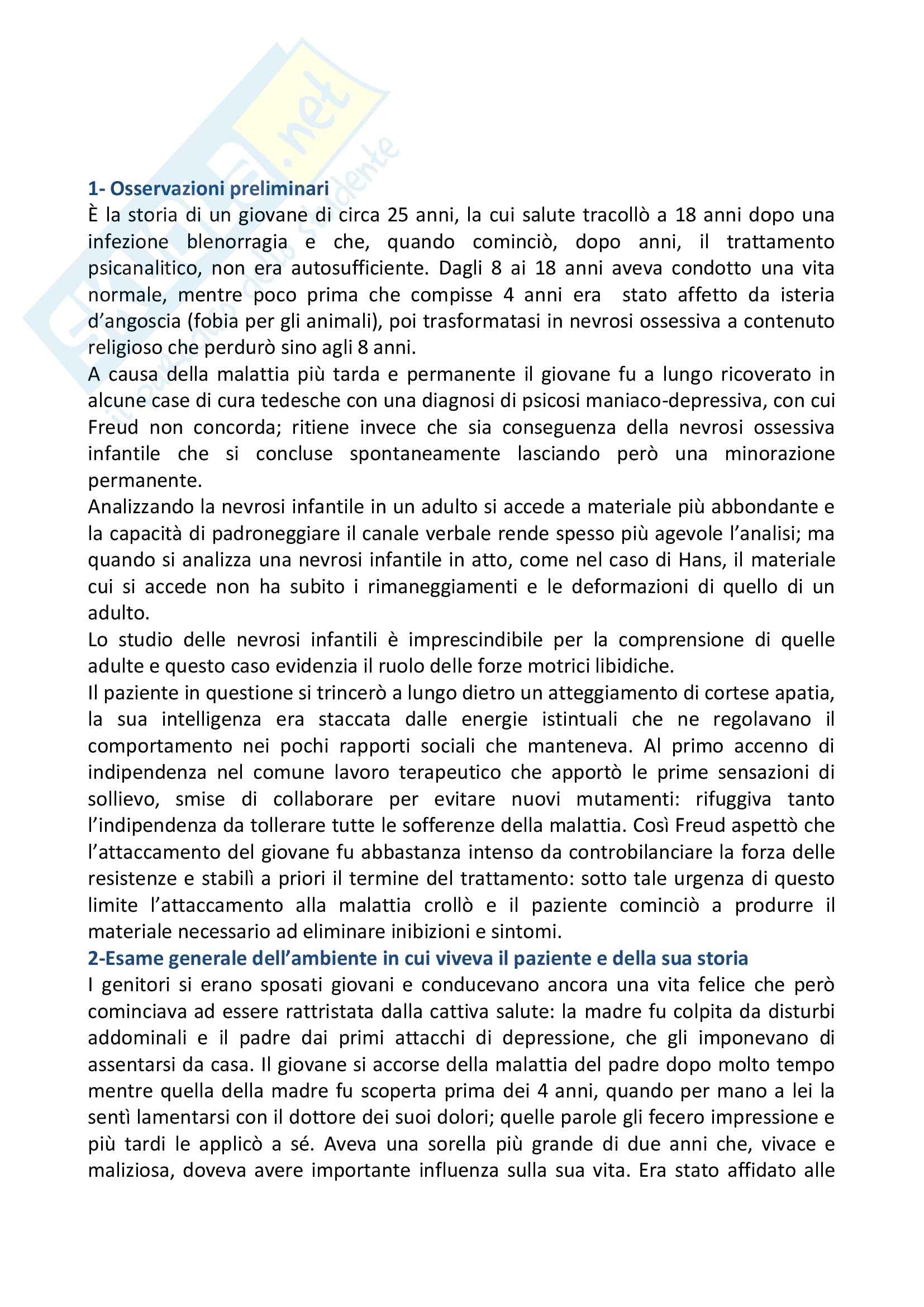 Riassunto esame Clinica psicodinamica, prof. Xibilia, libro consigliato Caso uomo dei lupi, Freud