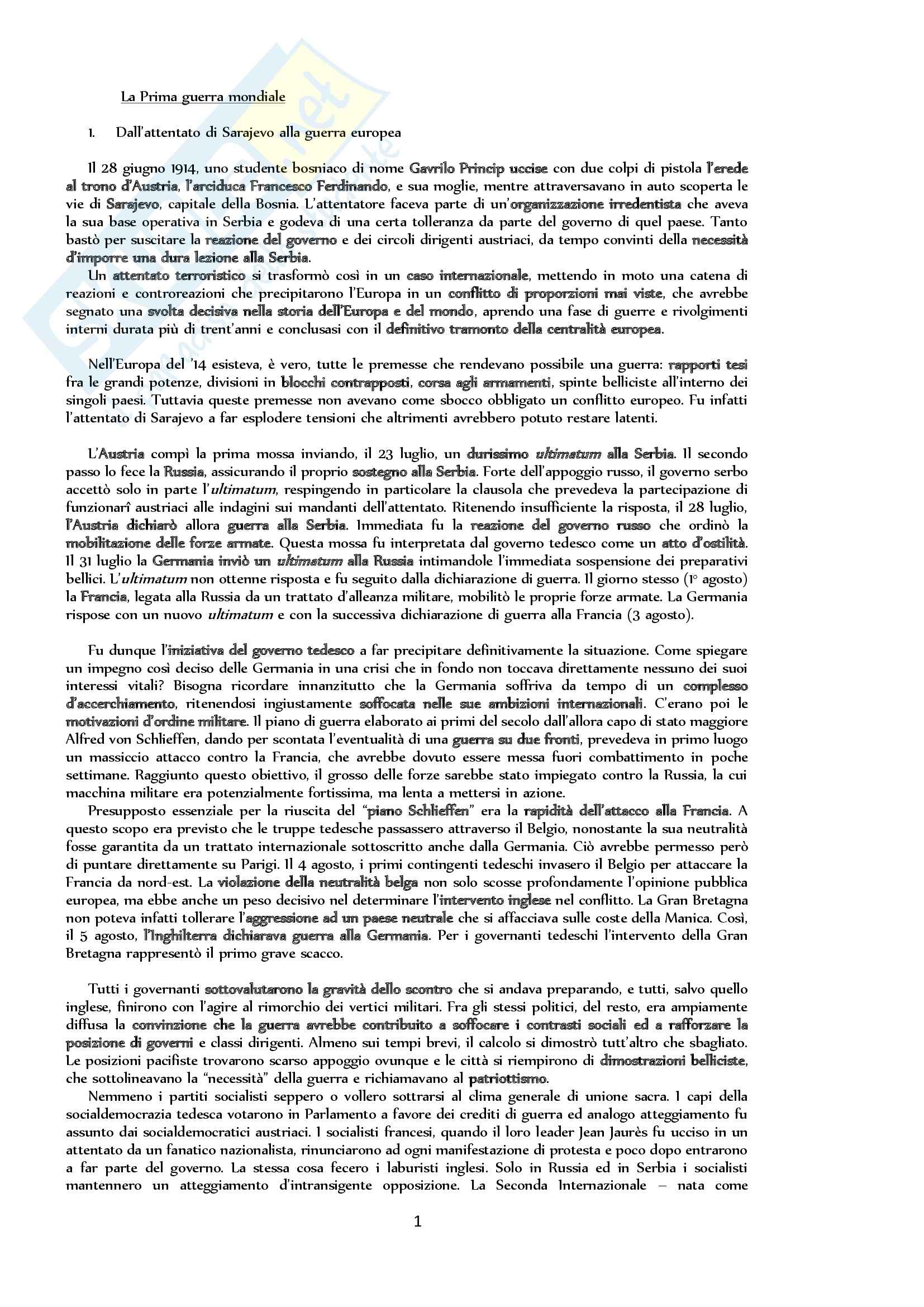 Riassunto esame Storia, prof. Bongiovanni, libro consigliato Storia contemporanea. Il Novecento, Sabbatucci, Vidotto