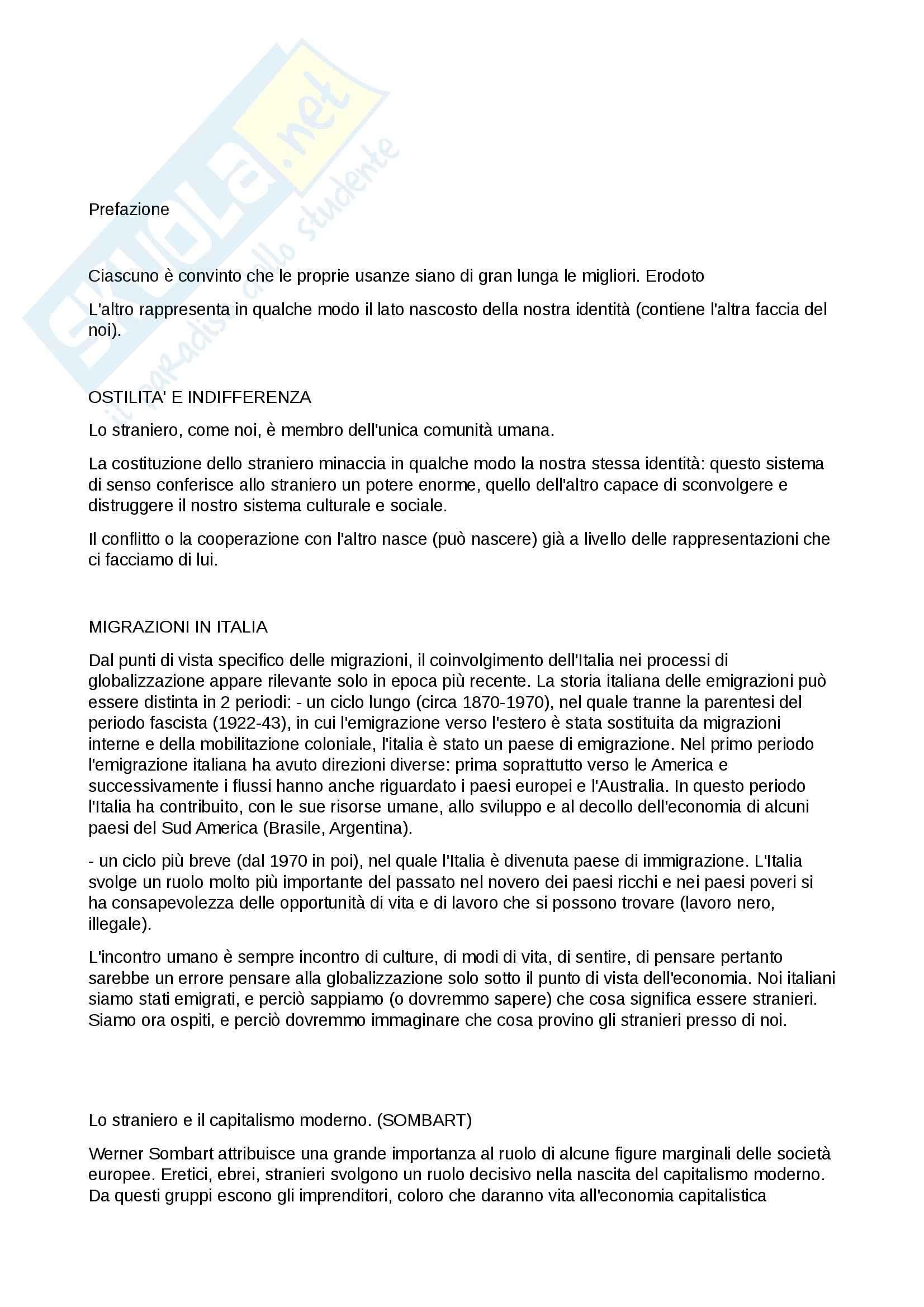 Riassunto esame Sociologia, prof. Cotesta, libro consigliato Sociologia dello straniero