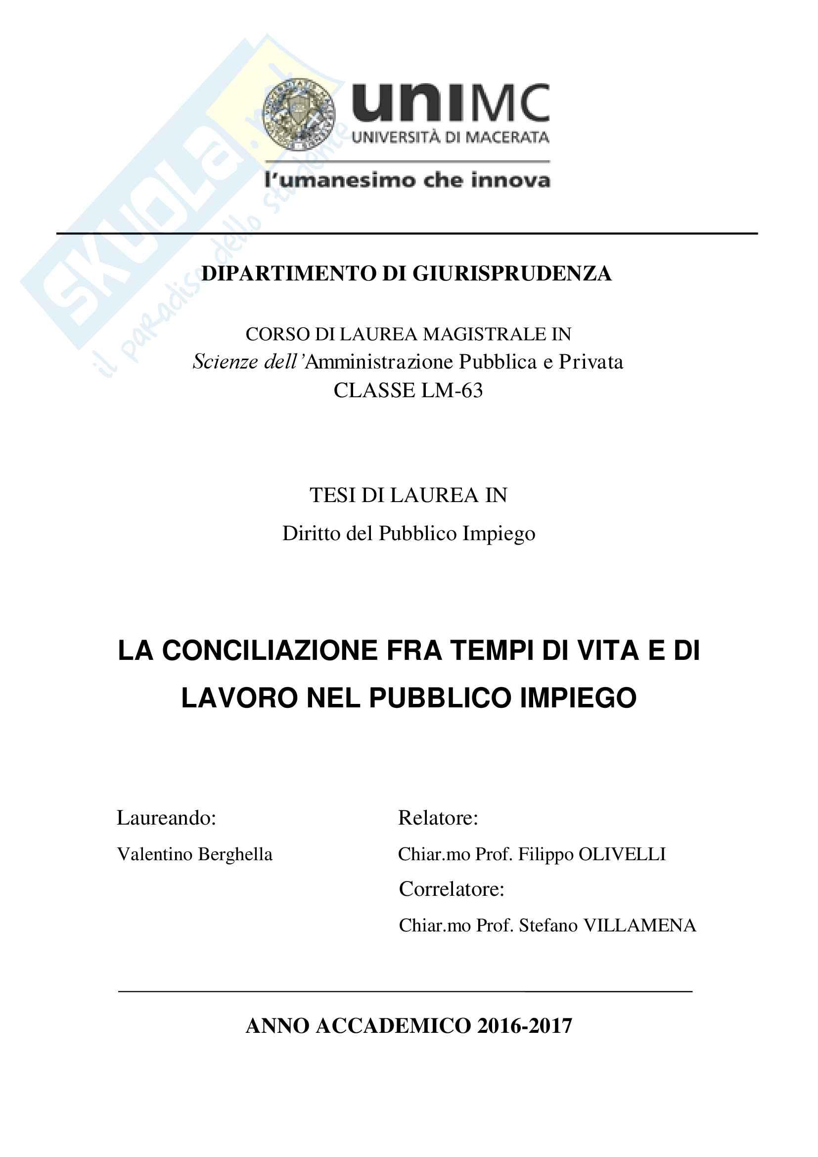 Tesi Laurea: Conciliazione fra tempi di vita e di lavoro
