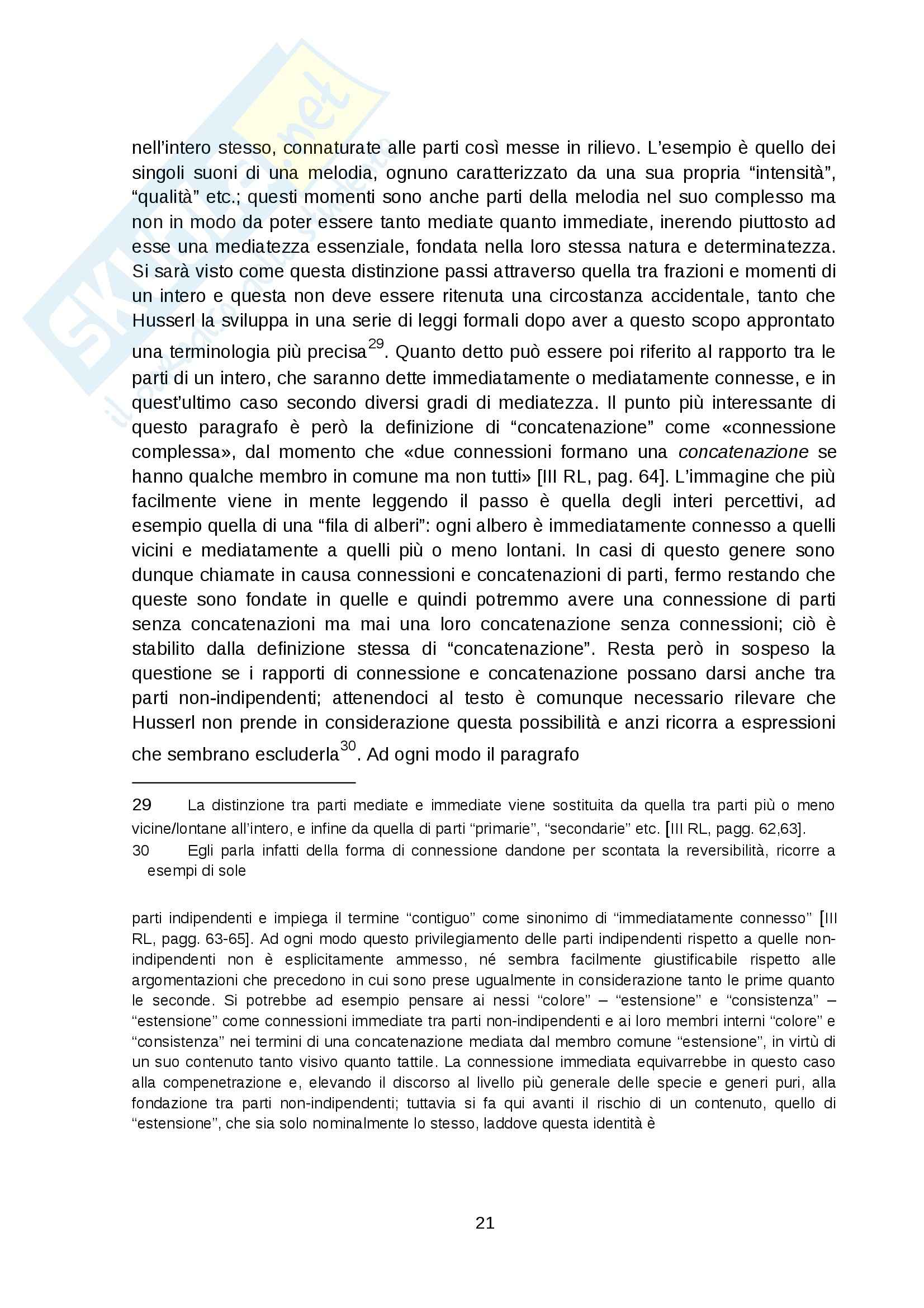 Riassunto esame Storia della filosofia contemporanea, prof. Aportone, libro consigliato Ricerche logiche, Husserl Pag. 21