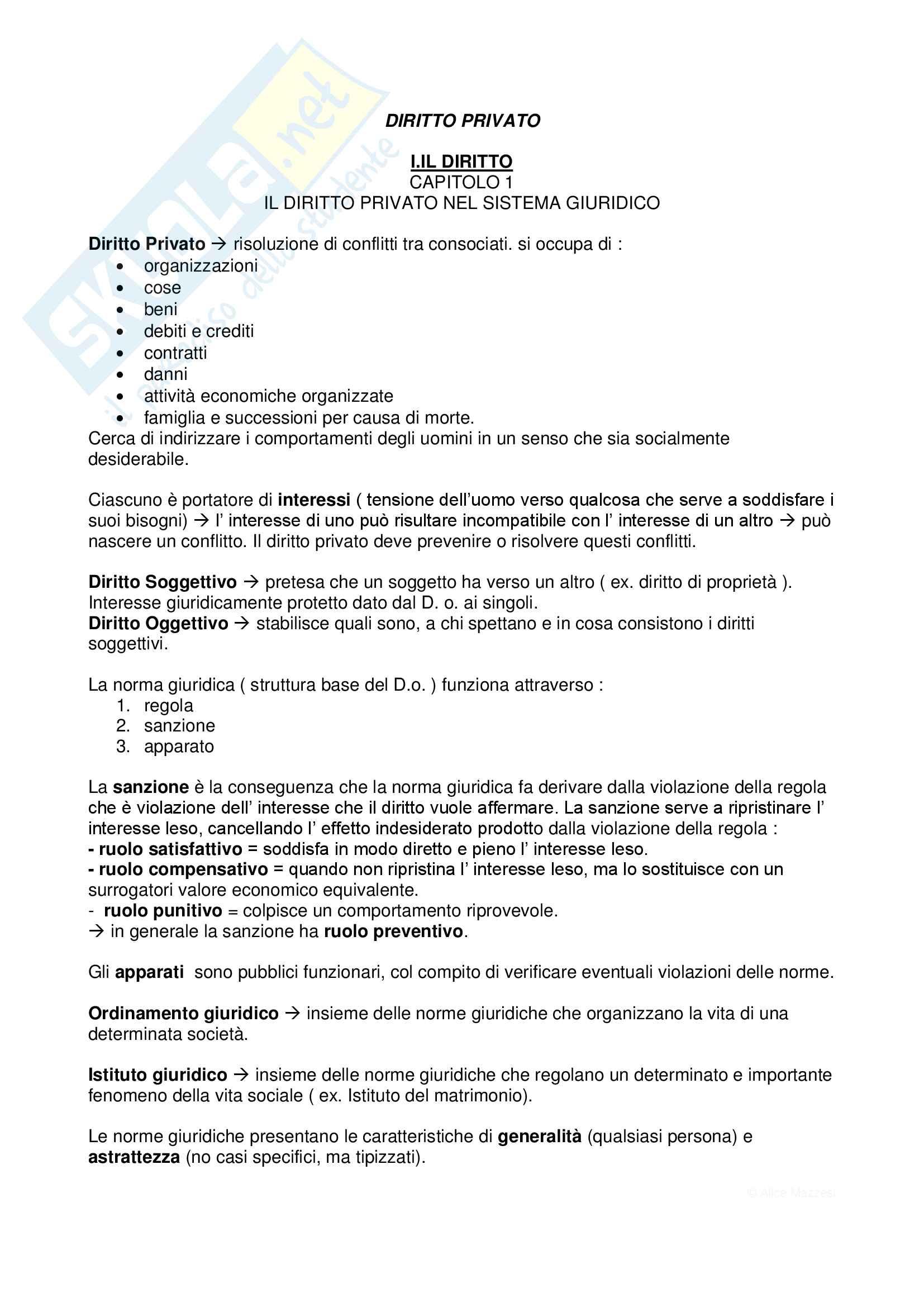 """Riassunto esame Diritto Privato, prof. Afferni e Grondona, libro consigliato """"Diritto Privato"""" di Vincenzo Roppo"""