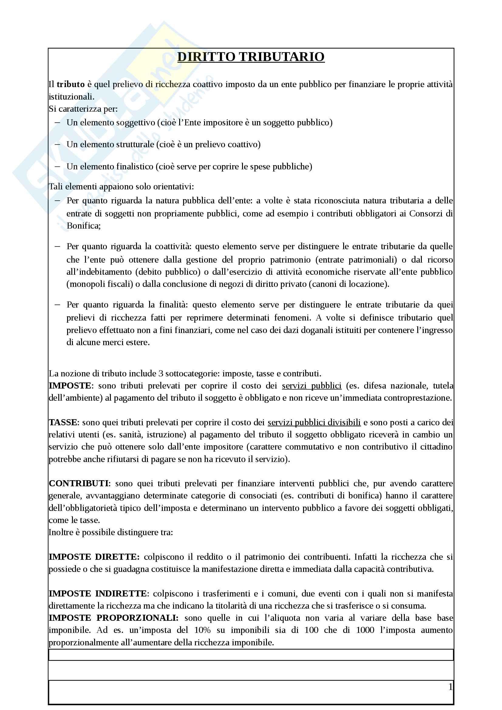 Riassunti di Diritto tributario, libro consigliato:Principi di diritto tributario, S. La Rosa