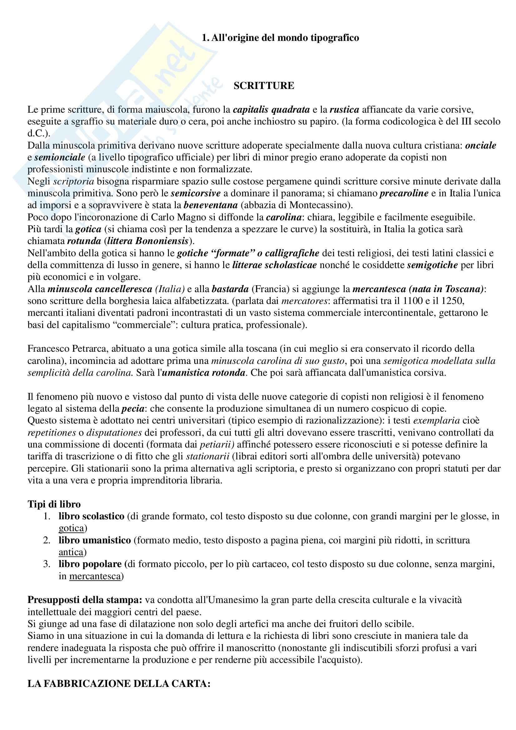 Riassunto esame Archivistica, bibliografia e biblioteconomia, prof. Reale, libro consigliato Storia del libro Italiano, Santoro