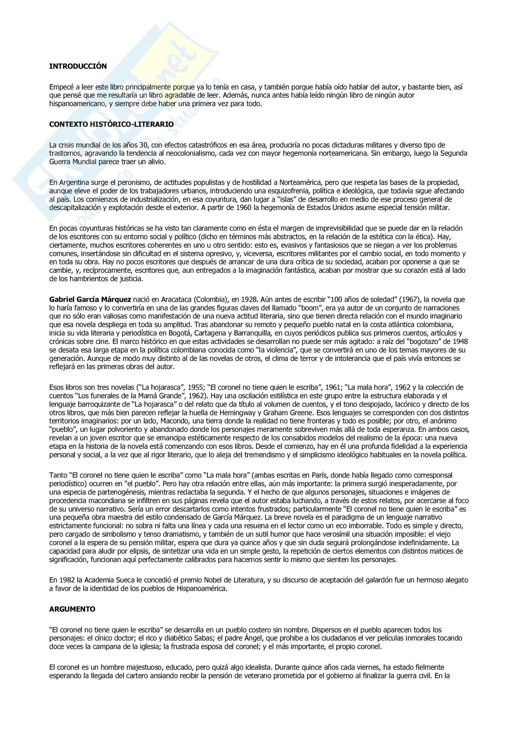 Riassunto esame Lingua Spagnola, prof. Gomez, libro consigliato El Coronel no Tiene Quien le Escriba di Prieto