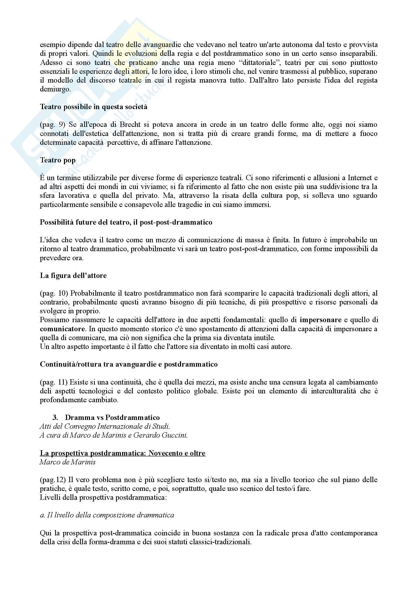 Riassunto esame Drammaturgia, prof. Guccini, libro consigliato Dramma vs Postdrammatico, Di Matteo Pag. 2