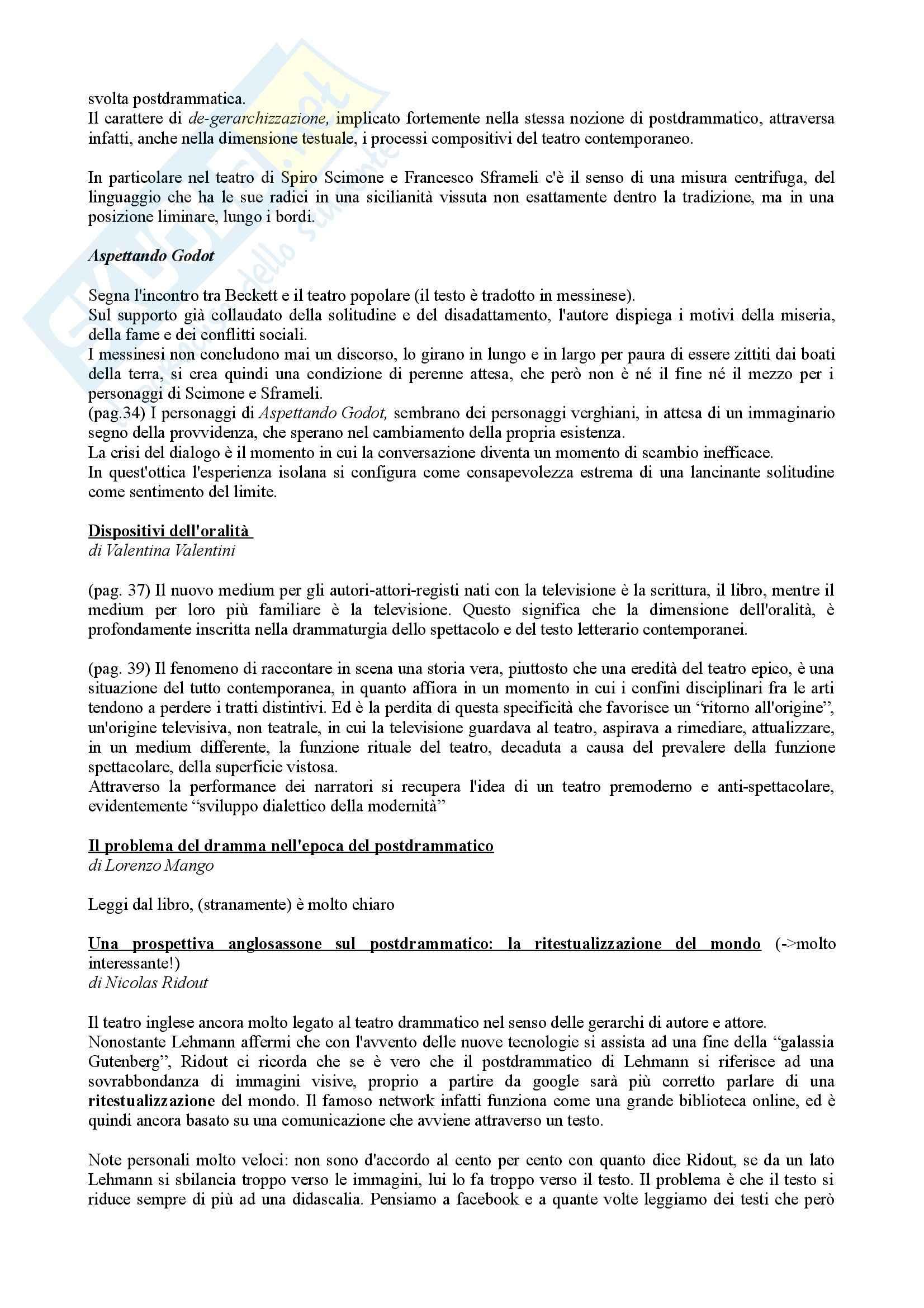 Riassunto esame Drammaturgia, prof. Guccini, libro consigliato Dramma vs Postdrammatico, Di Matteo Pag. 6