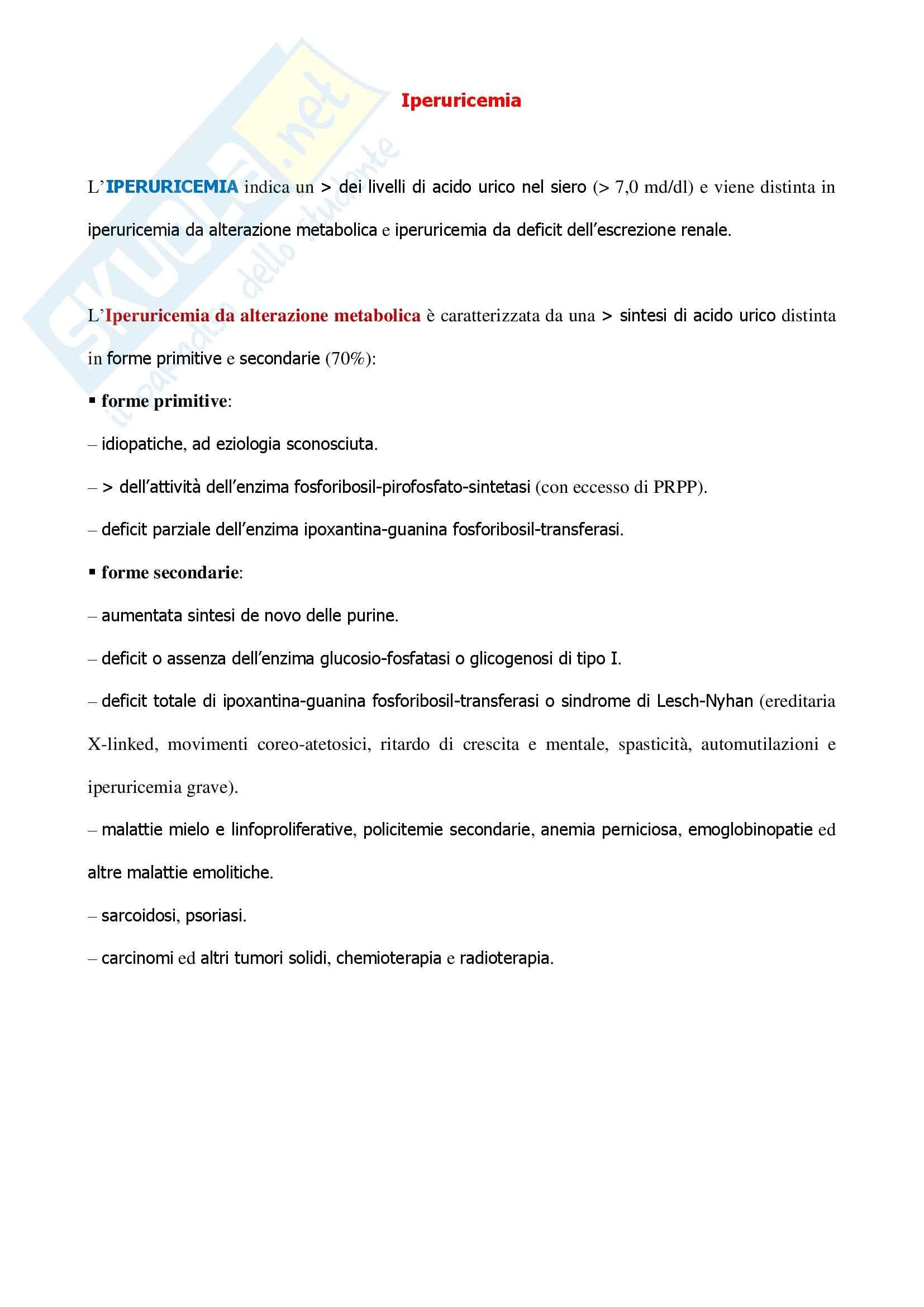 Endocrinologia - l'iperuricemia