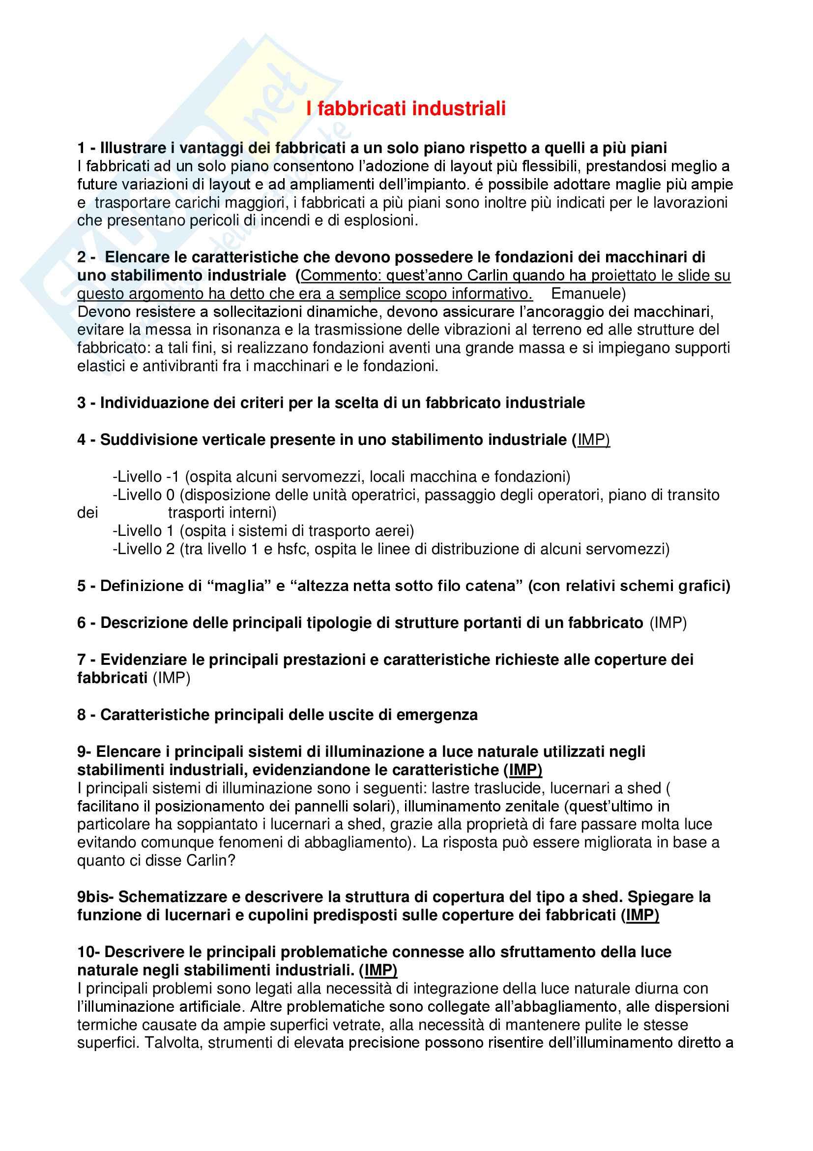 Temi d'esame e Domande svolte per l'esame di Impianti industriali e sicurezza sul lavoro