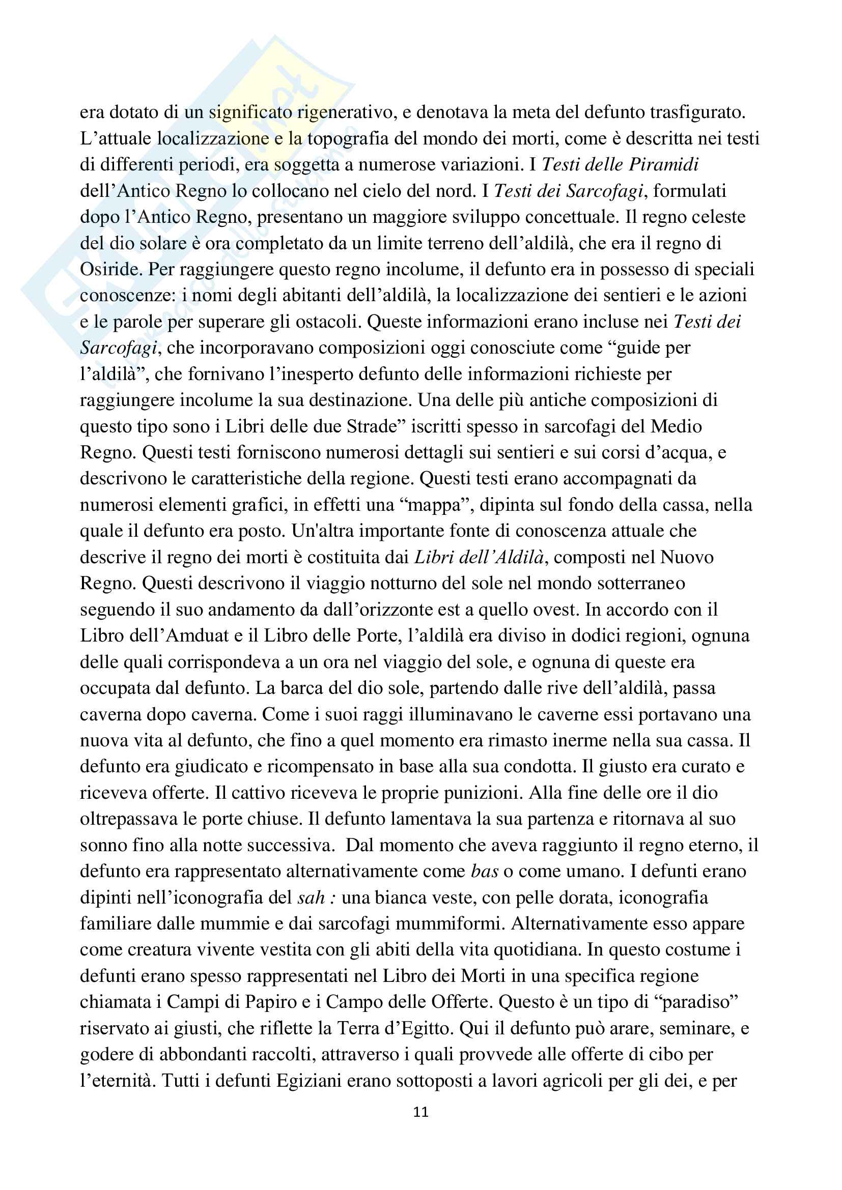 Riassunto esame Laboratorio di Archeologia Egiziana, prof. Silvano, libro consigliato Dead and the afterlife in the ancient Egypt di Taylor Pag. 11