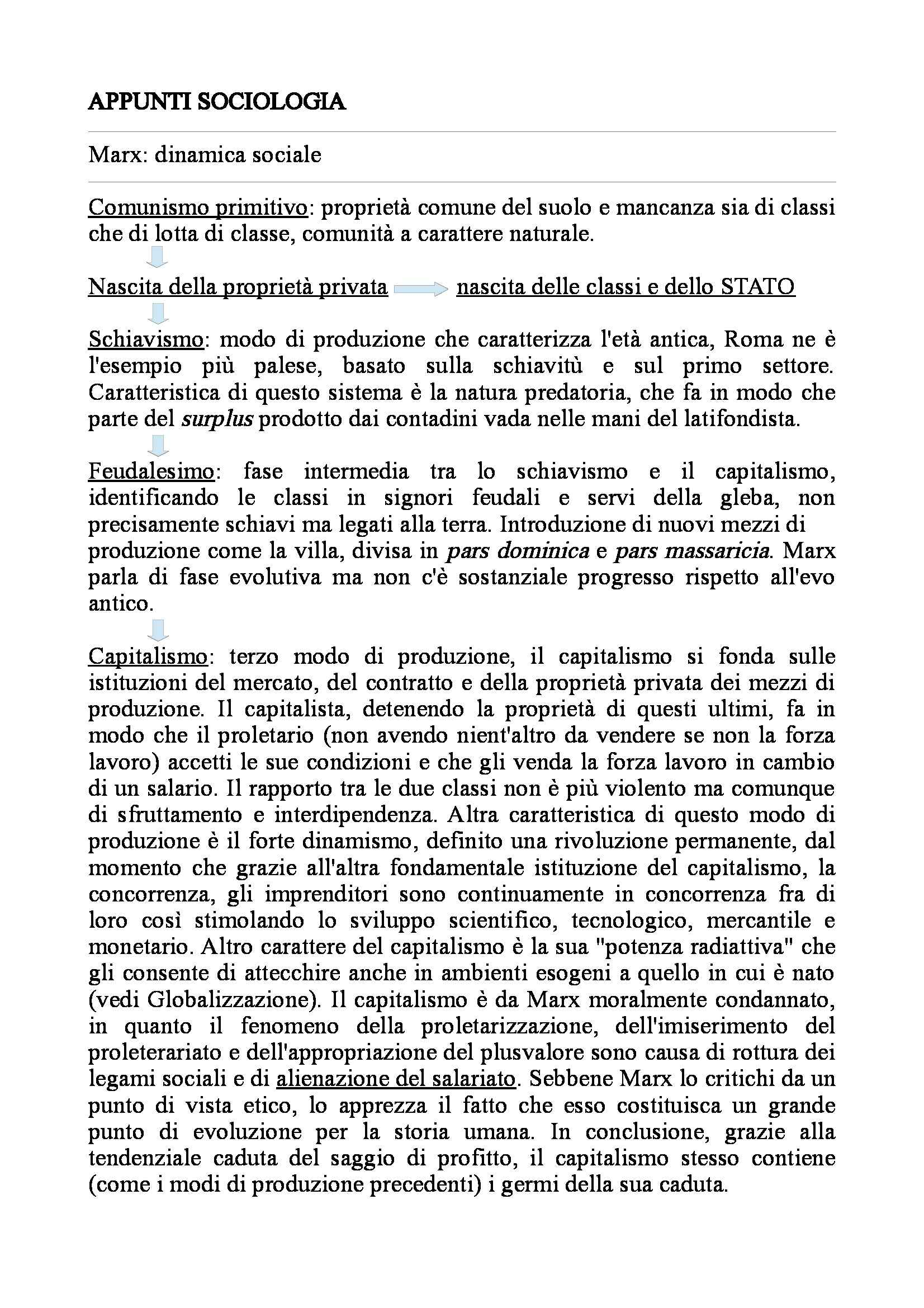 Sociologia generale  - Appunti Pag. 1