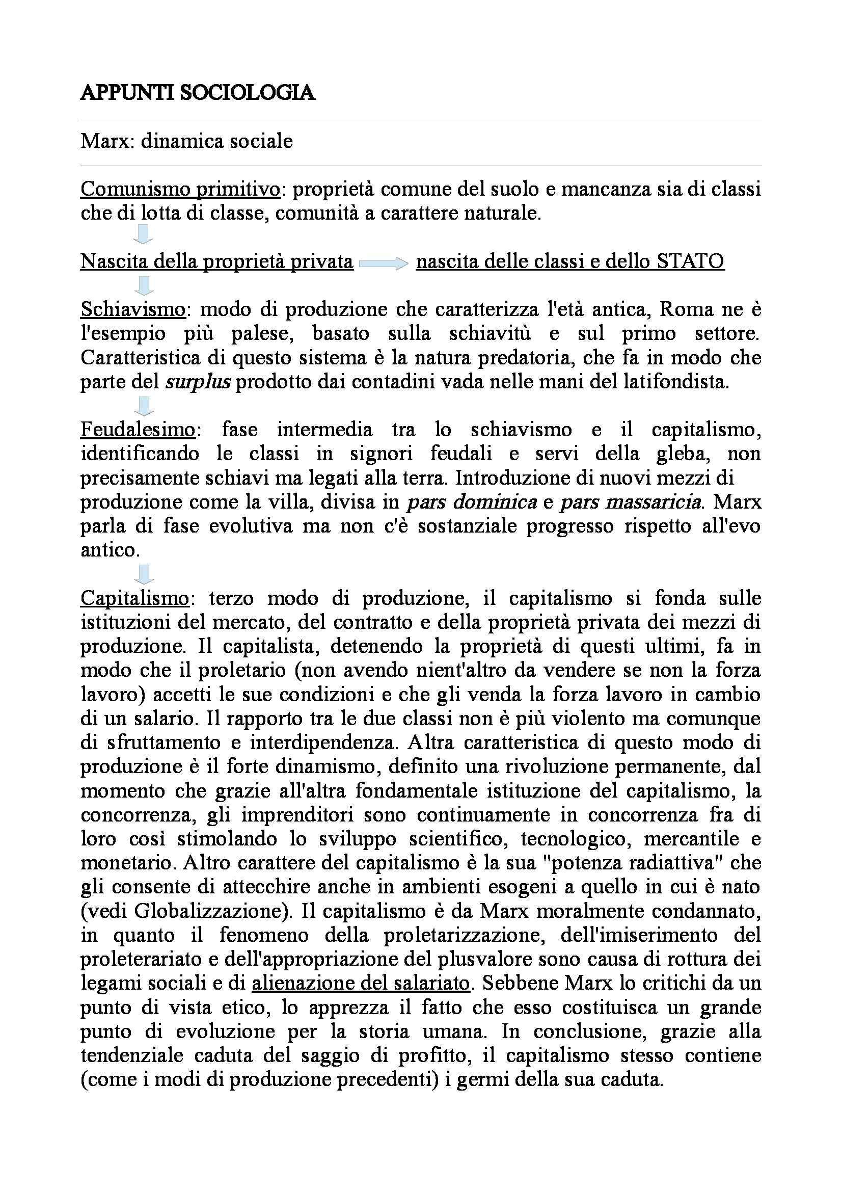 Sociologia generale  - Appunti