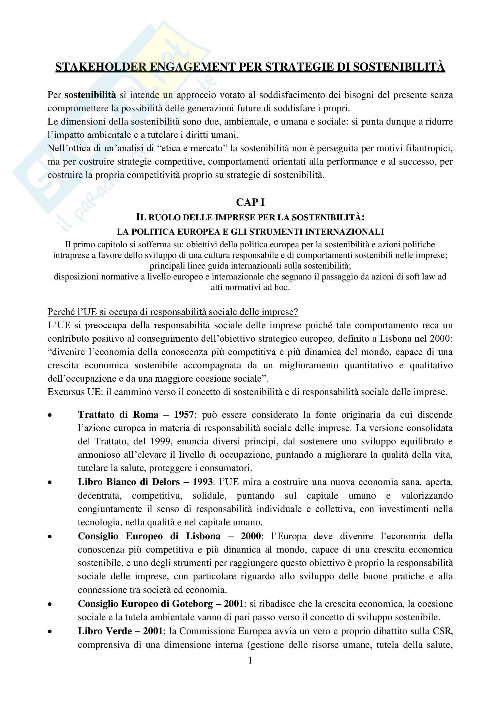 Riassunto esame Etica e mercato, prof. De Chiara, libro consigliato Stakeholder engagement per strategie di sostenibilità, De Chiara
