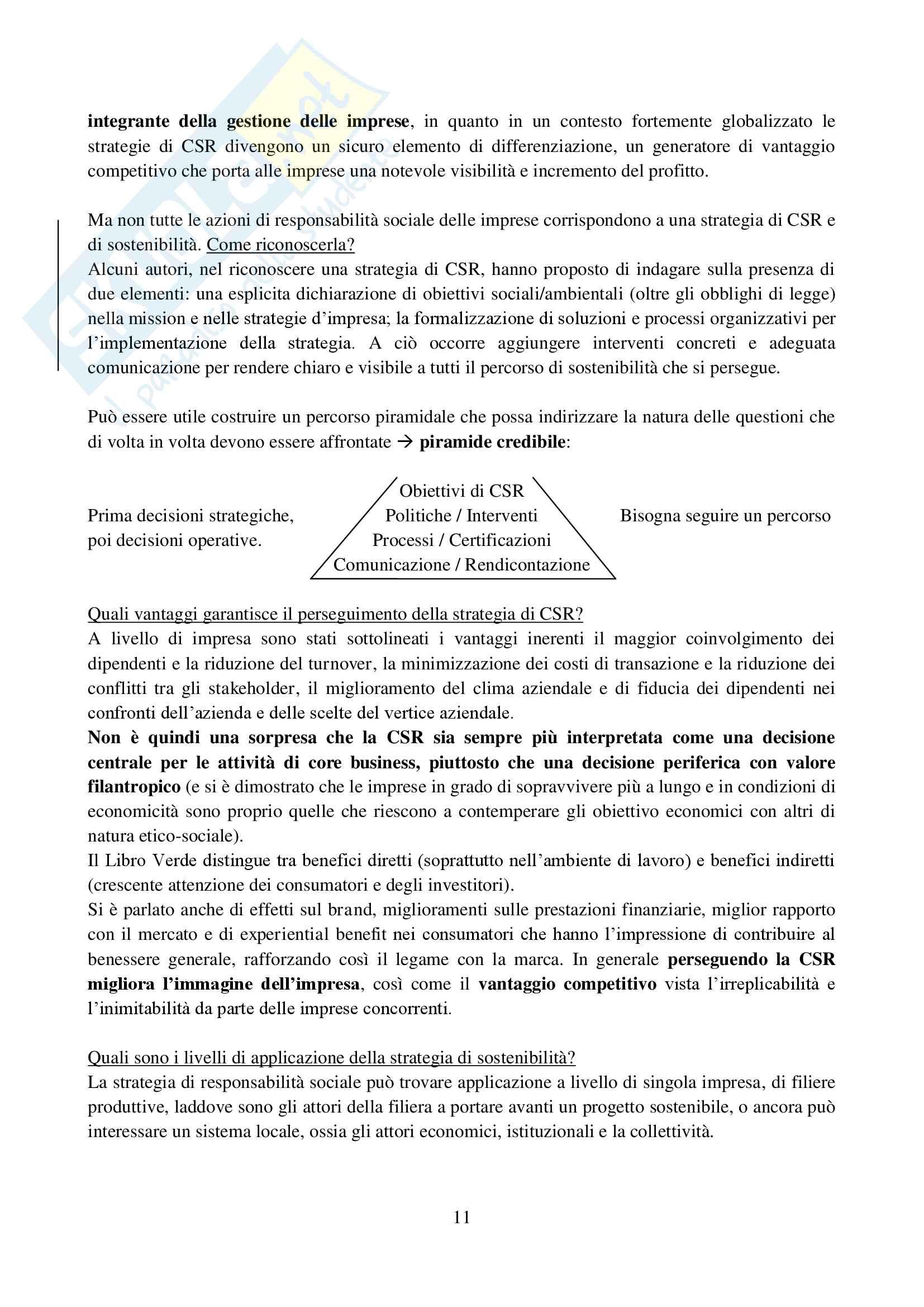 Riassunto esame Etica e mercato, prof. De Chiara, libro consigliato Stakeholder engagement per strategie di sostenibilità, De Chiara Pag. 11