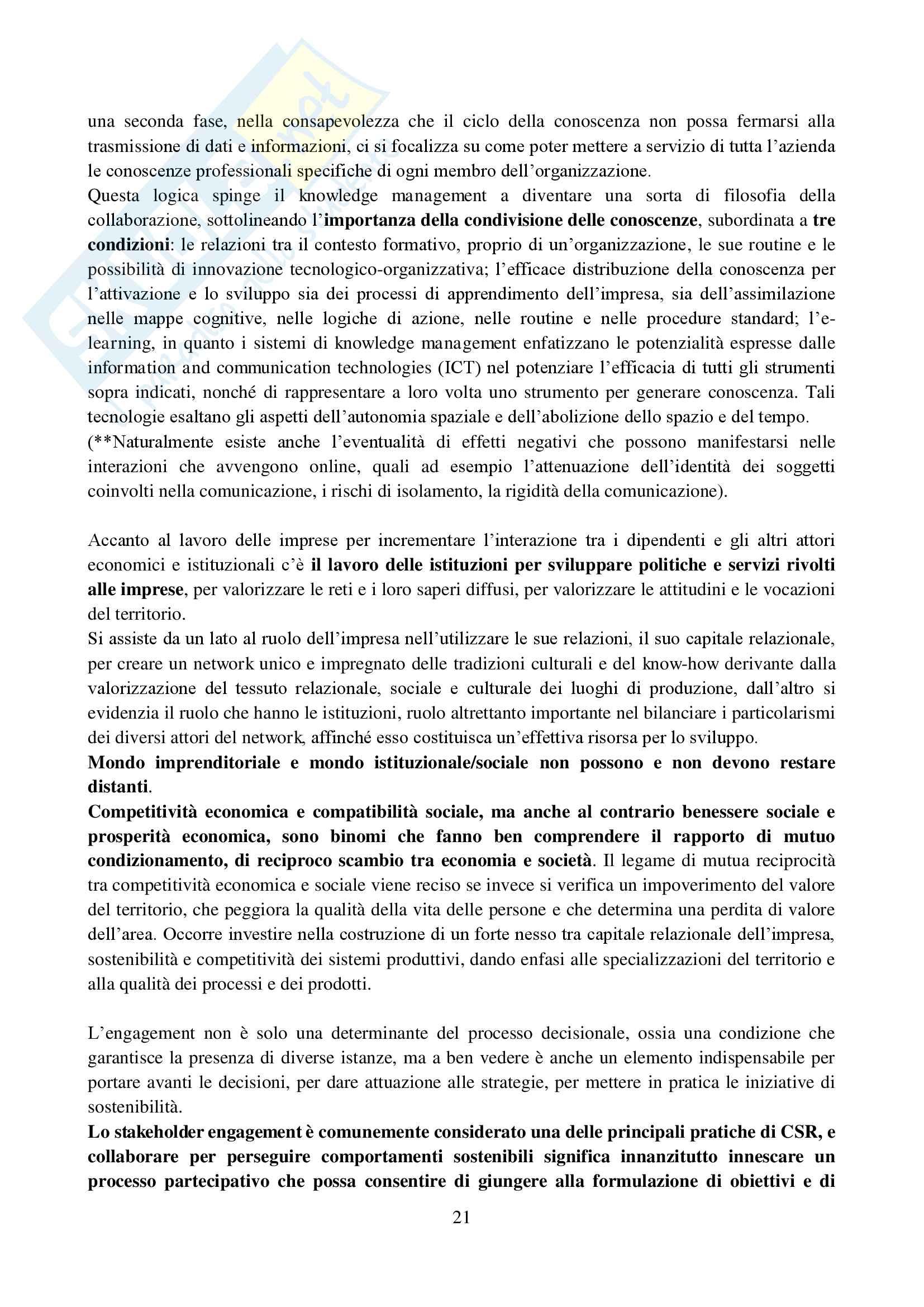 Riassunto esame Etica e mercato, prof. De Chiara, libro consigliato Stakeholder engagement per strategie di sostenibilità, De Chiara Pag. 21