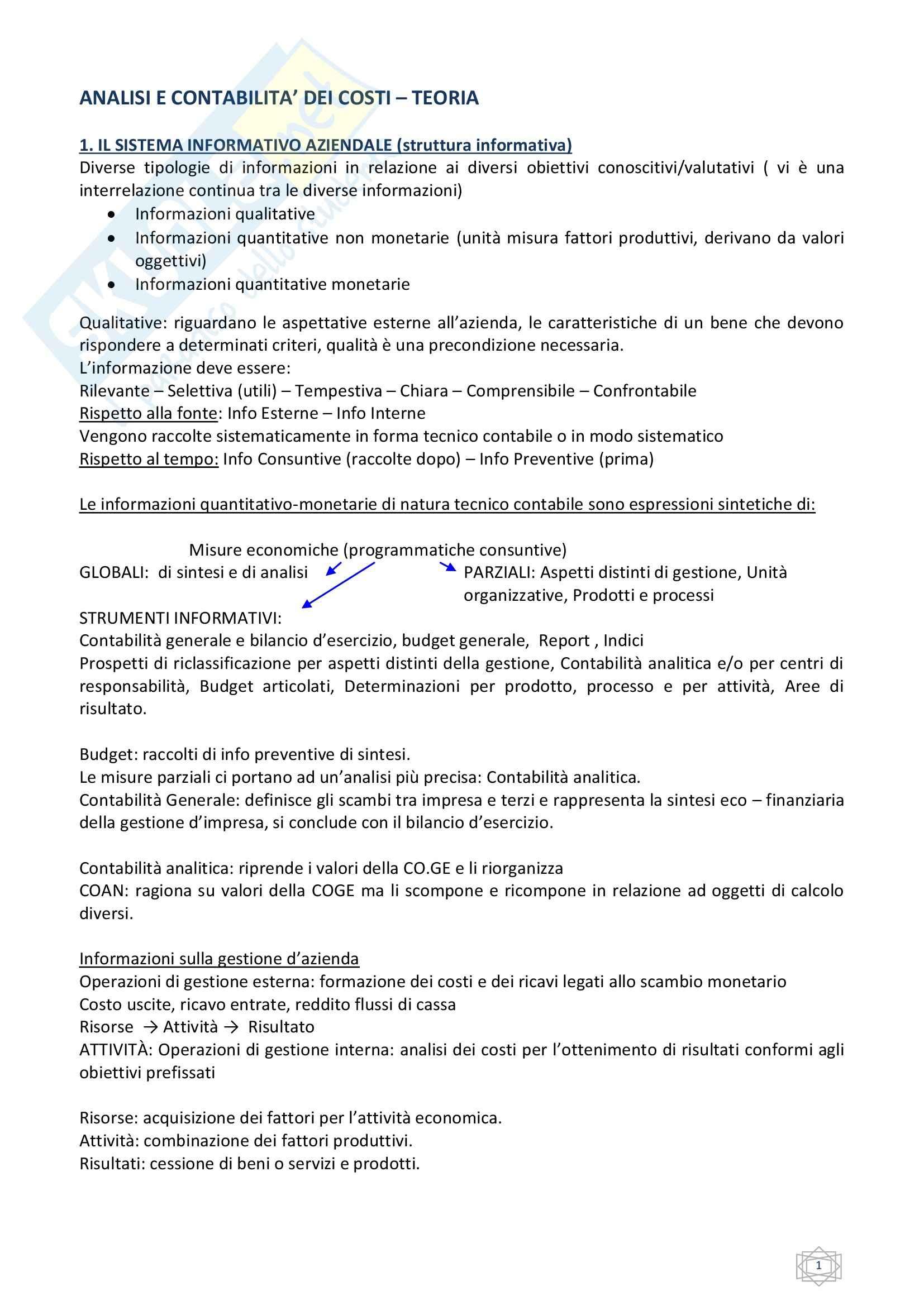 Esercitazioni e teoria: Appunti di Analisi e Contabilità Conti