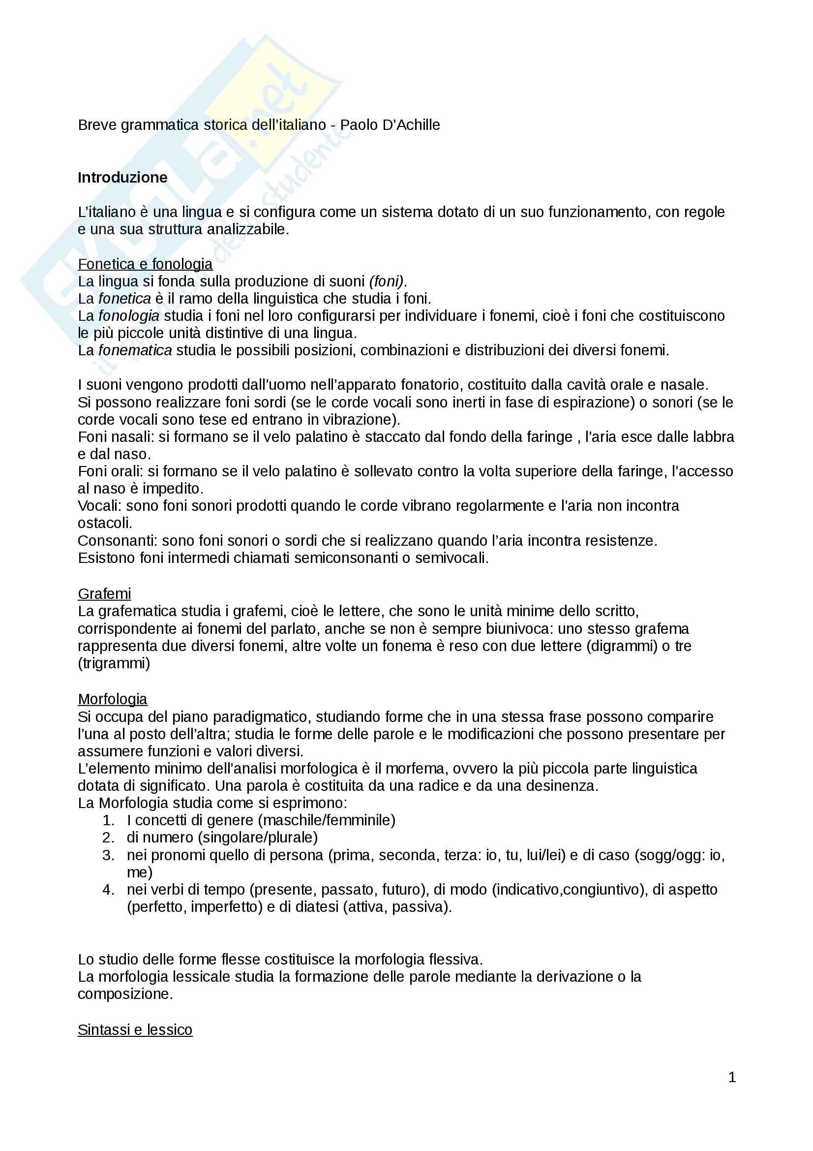 Riassunto esame Istituzioni linguistica italiana, docente D'Achille, libro consigliato Breve grammatica storica dell'italiano, Paolo D'Achille