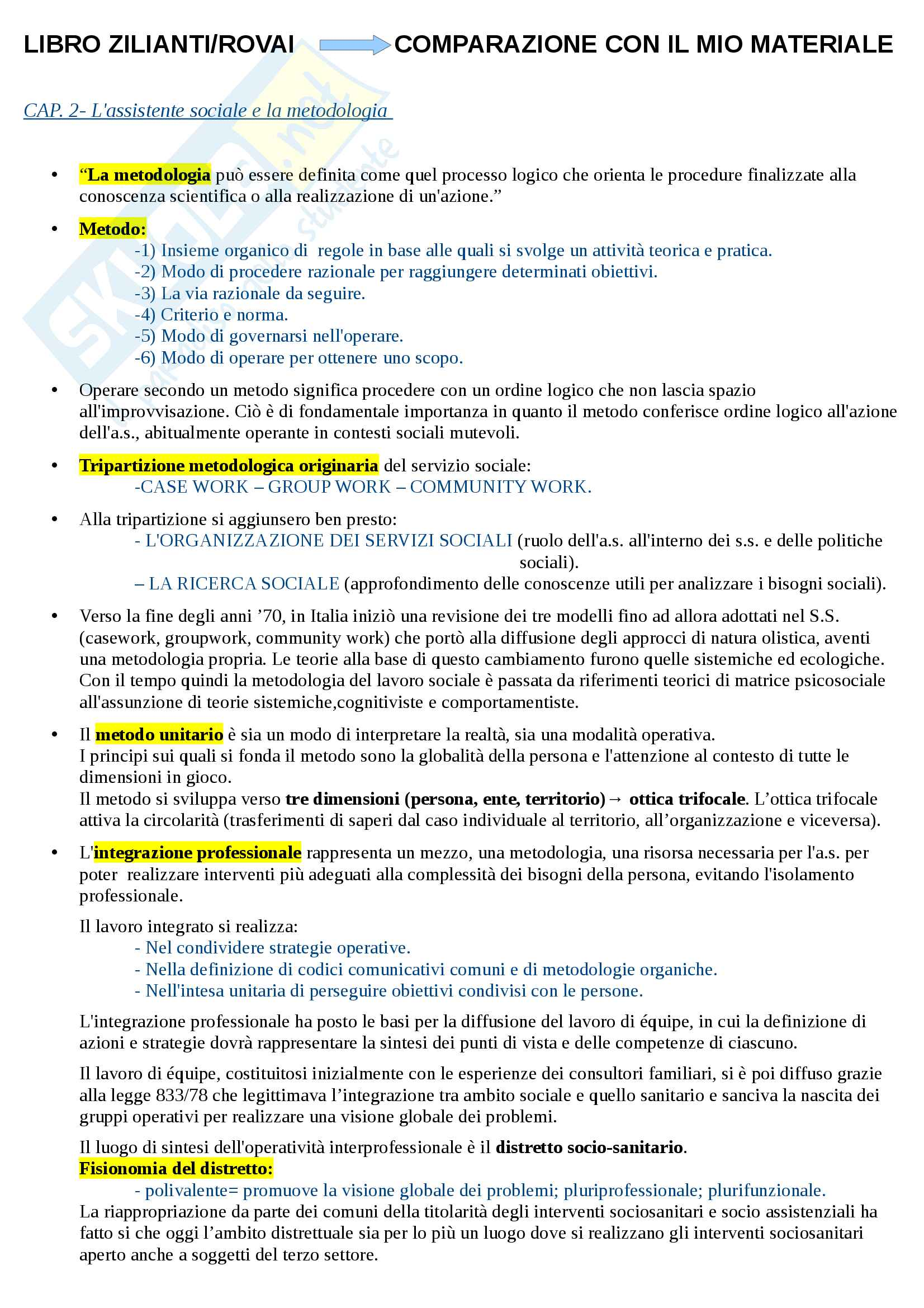 Riassunto esame Metodi e Tecniche del servizio sociale, libro consigliato Assistenti sociali professionisti, Zilianti, Rovai