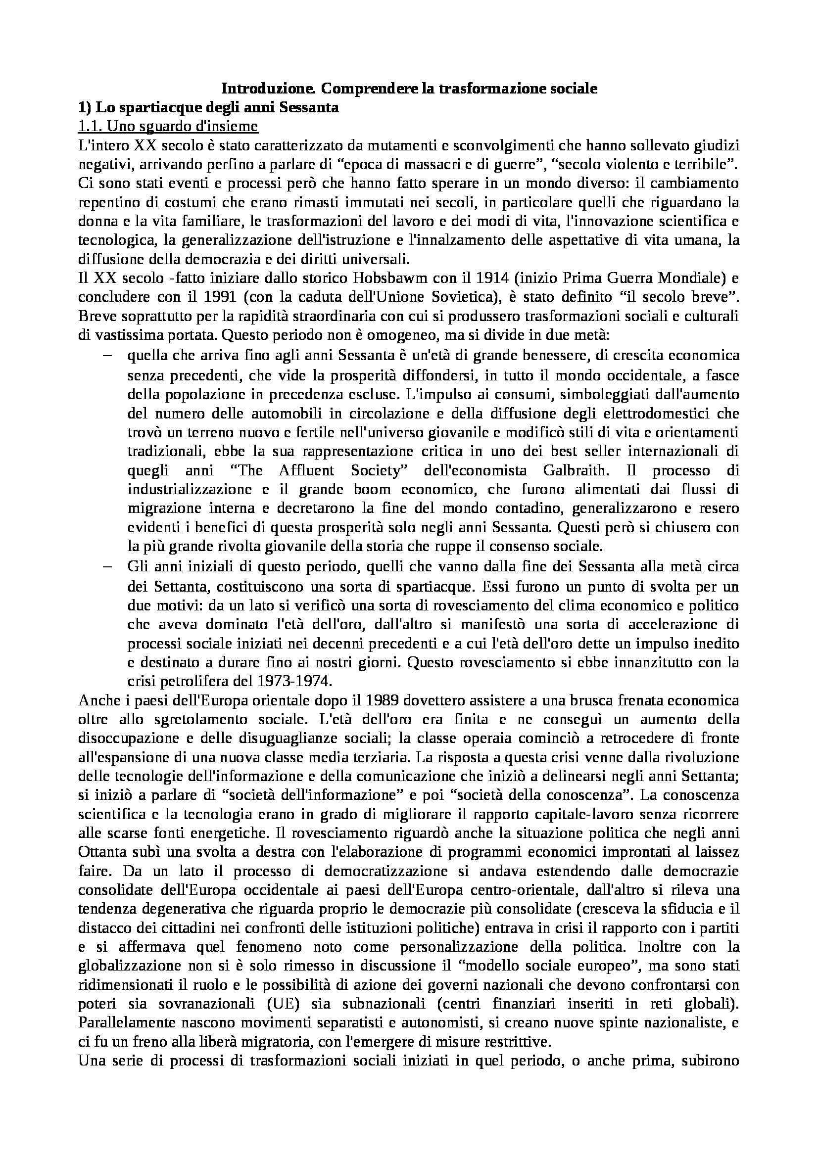 Riassunto esame Istituzioni di Sociologia, libro adottato Processi e Trasformazioni Sociali, Sciolla