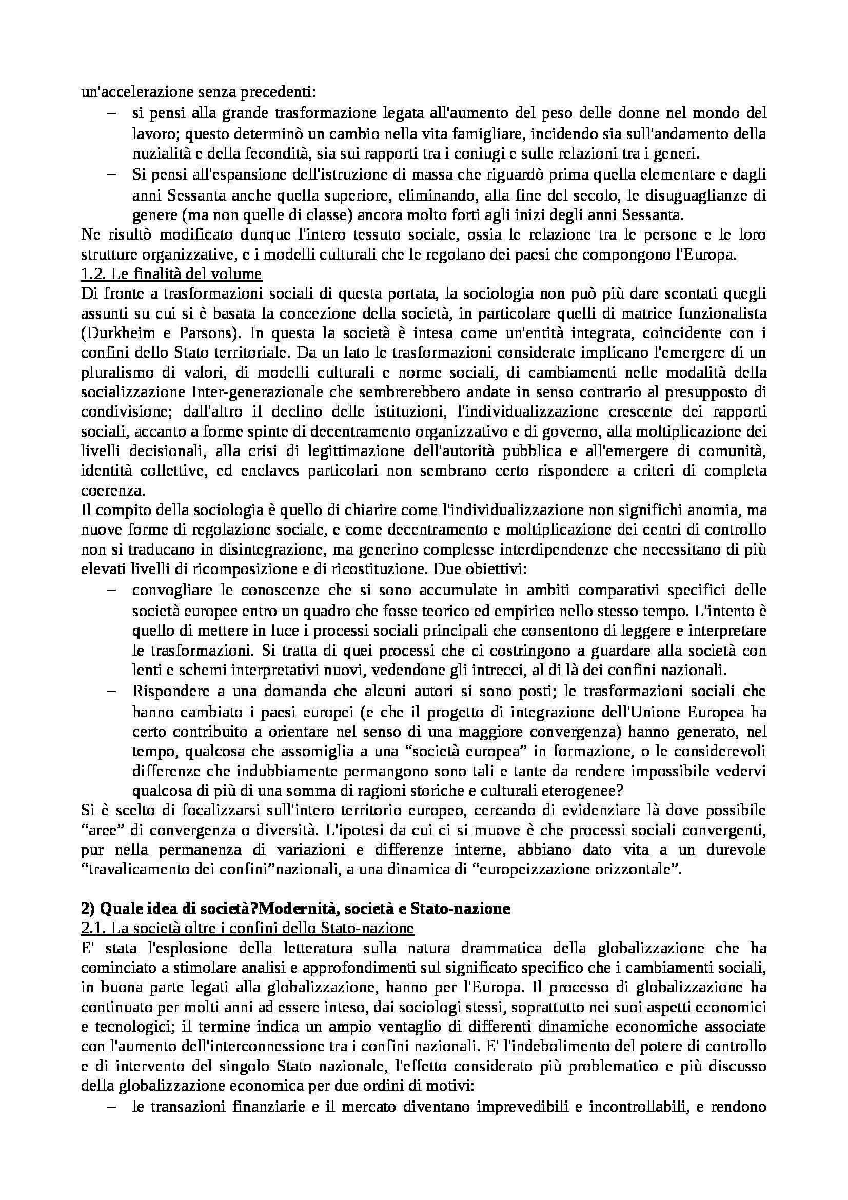 Riassunto esame Istituzioni di Sociologia, libro adottato Processi e Trasformazioni Sociali, Sciolla Pag. 2