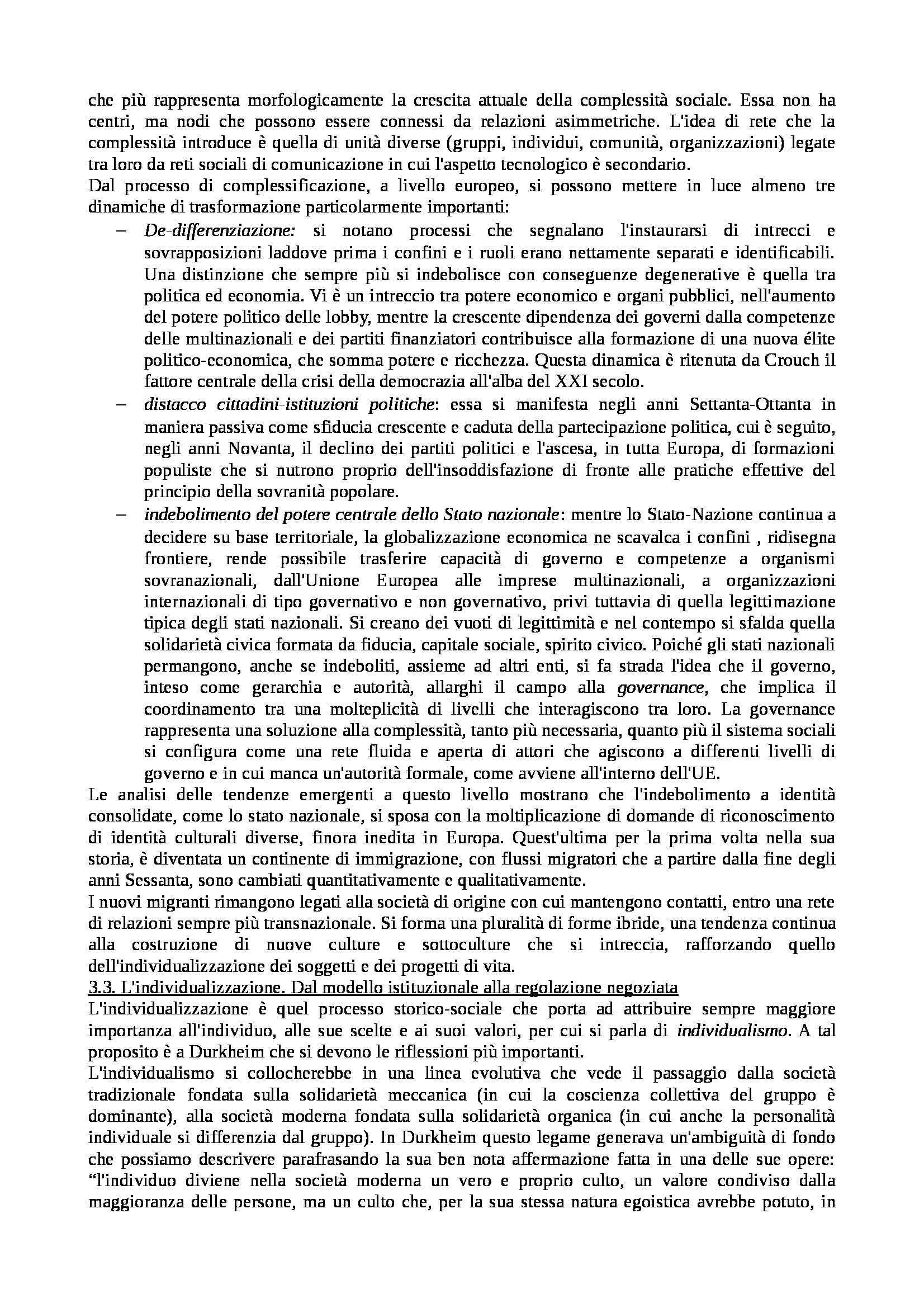 Riassunto esame Istituzioni di Sociologia, libro adottato Processi e Trasformazioni Sociali, Sciolla Pag. 6