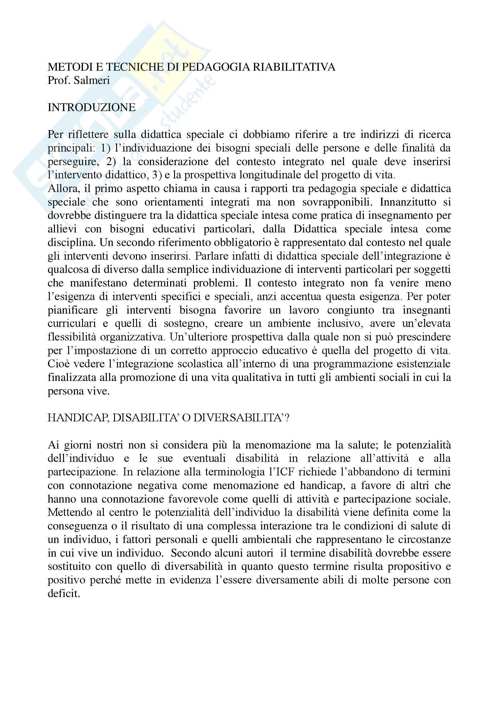 Pedagogia - metodi e tecniche di pedagogia riabilitativa - Riassunto esame, prof. Salmeri