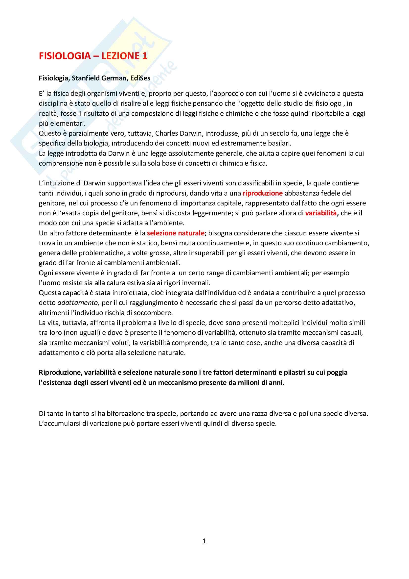 Fisiologia umana - Formenti e Brambilla Pag. 1